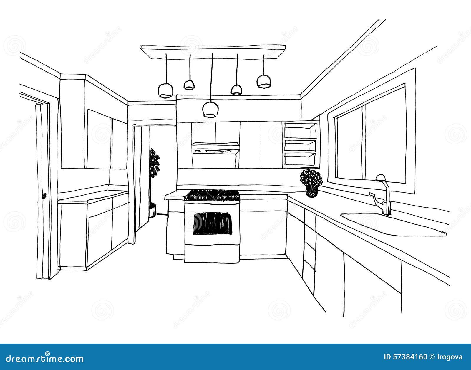 Croquis Graphique La Cuisine Illustration Stock Image 57384160