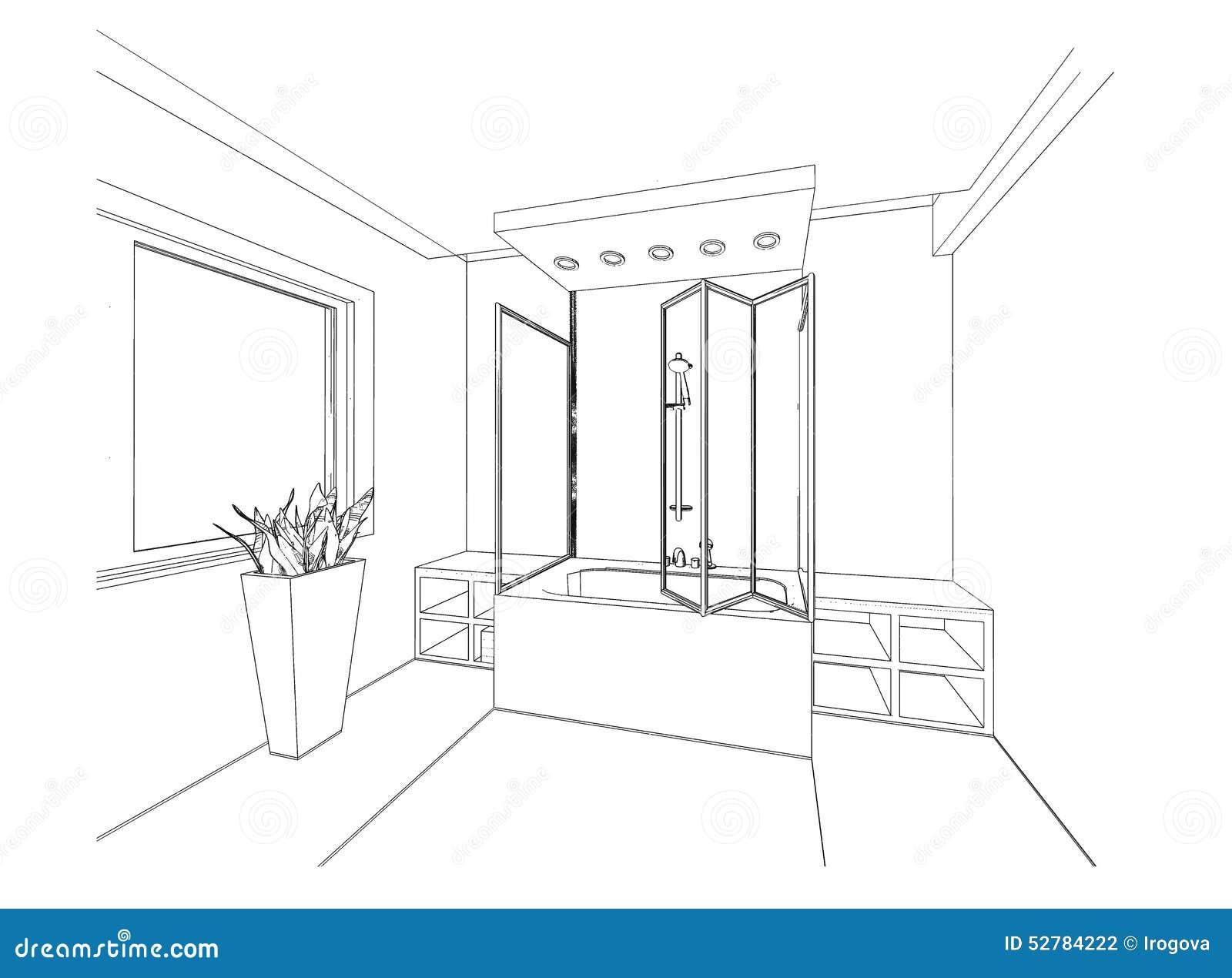 Meuble Salle De Bain Bois ~ Croquis Graphique Une Salle De Bains Illustration Stock