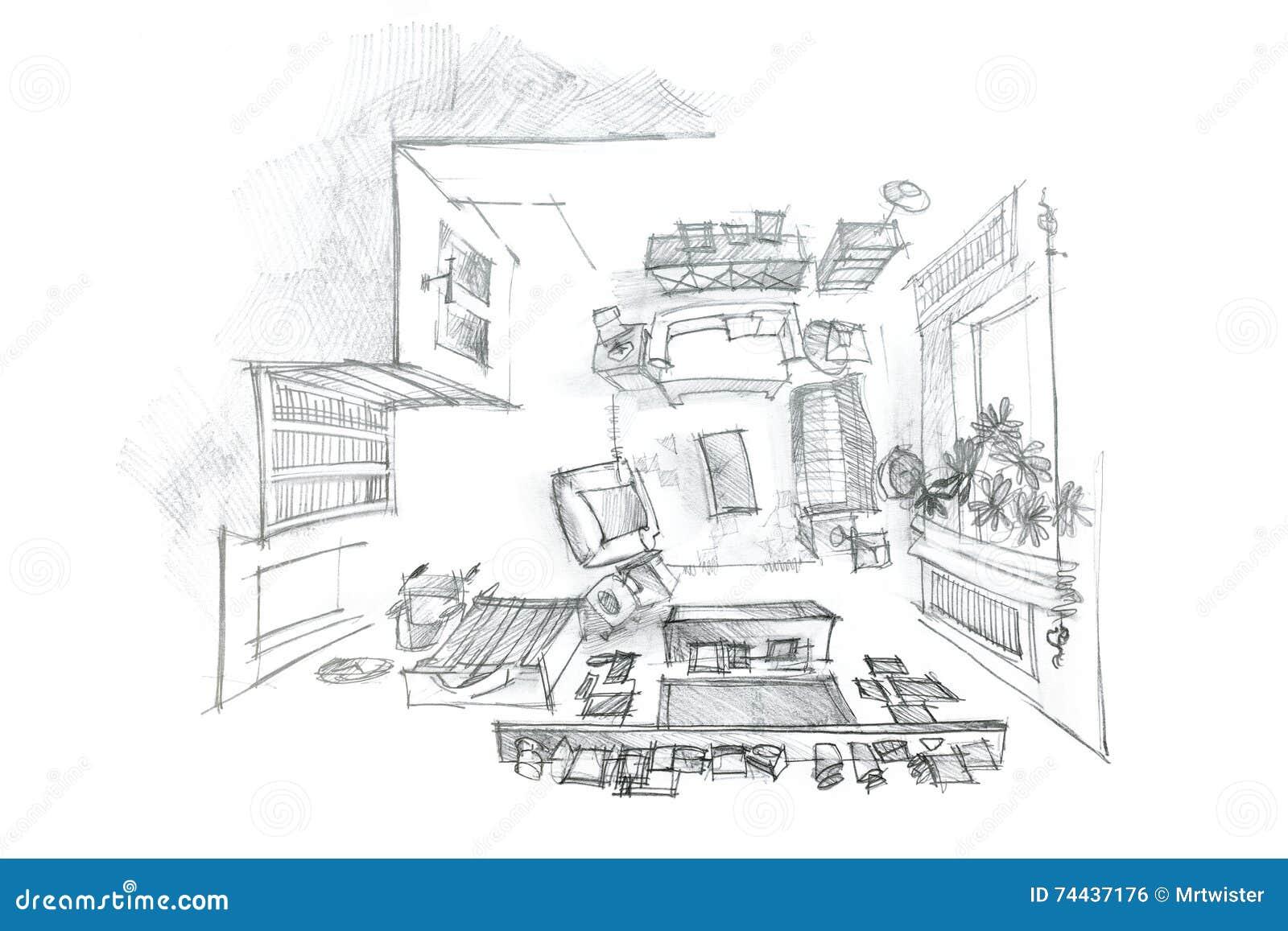 Croquis Intérieur à Main Levée De Salon Moderne Avec Des Meubles, Vue  Supérieure