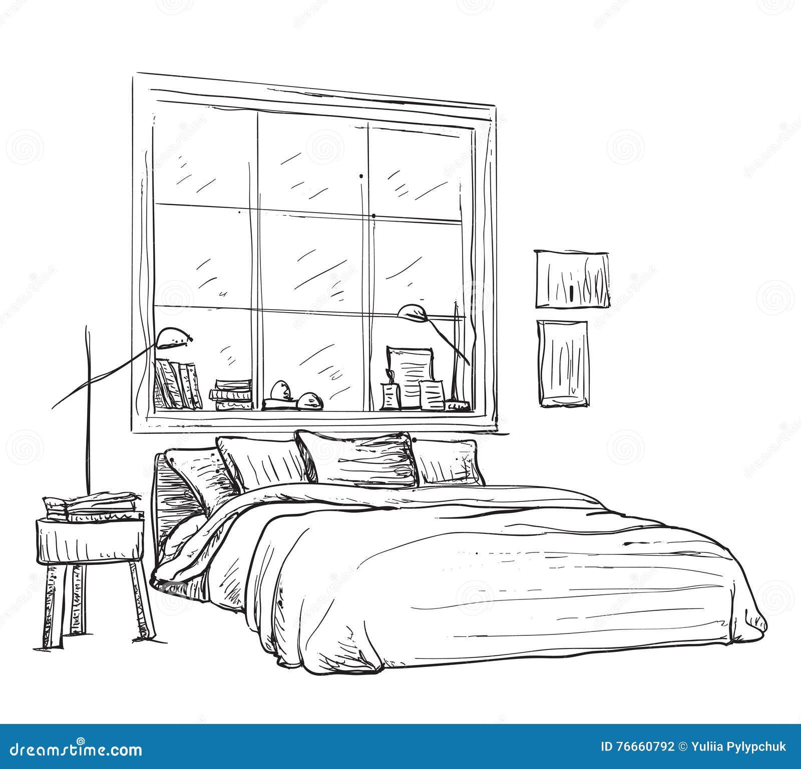croquis int rieur moderne de chambre coucher illustration de vecteur illustration du b ti. Black Bedroom Furniture Sets. Home Design Ideas