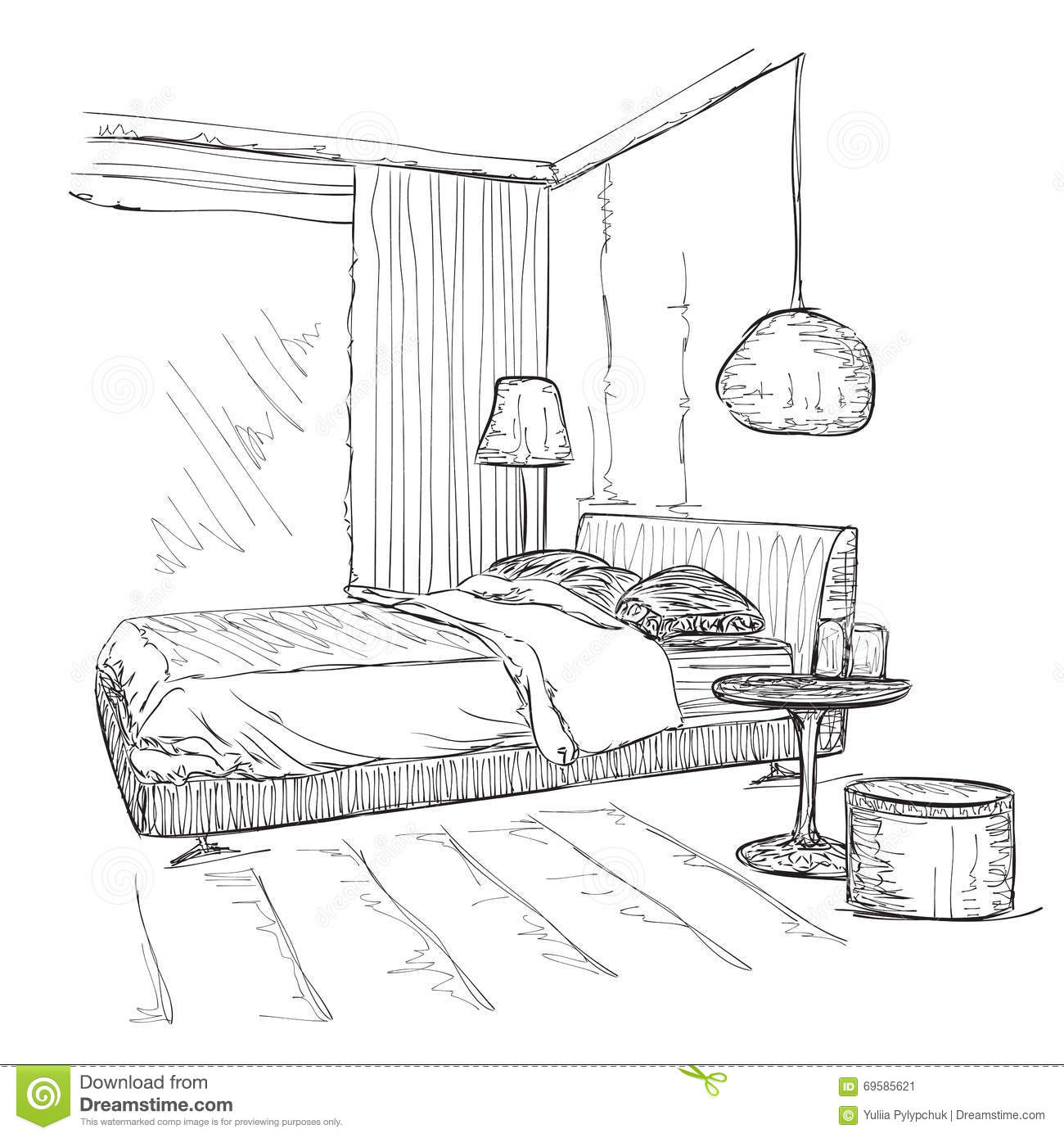 croquis int rieur moderne de dessin de vecteur de chambre coucher illustration de vecteur. Black Bedroom Furniture Sets. Home Design Ideas