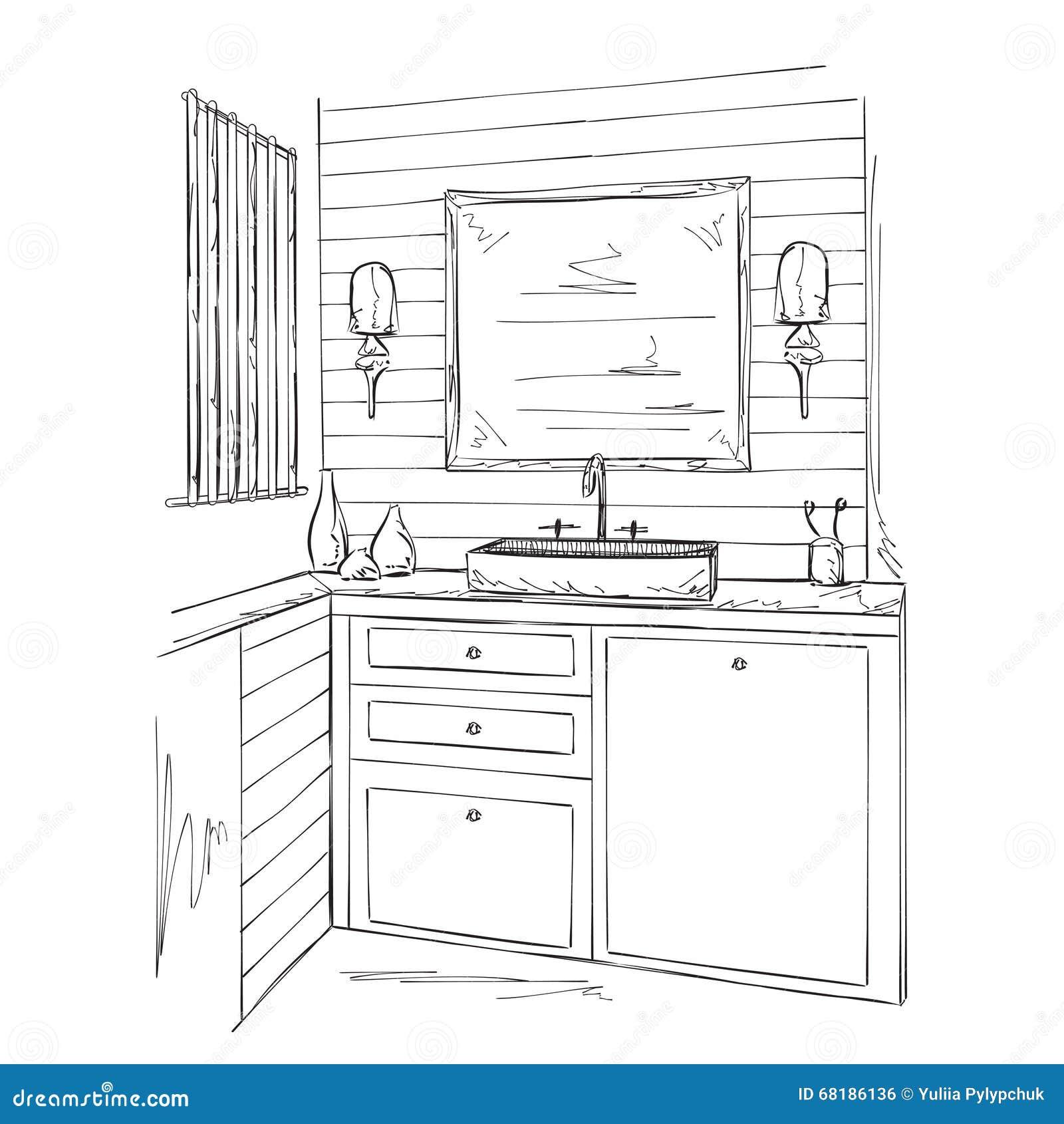 Croquis int rieur d 39 l ments de salle de bains for Croquis de salle de bain