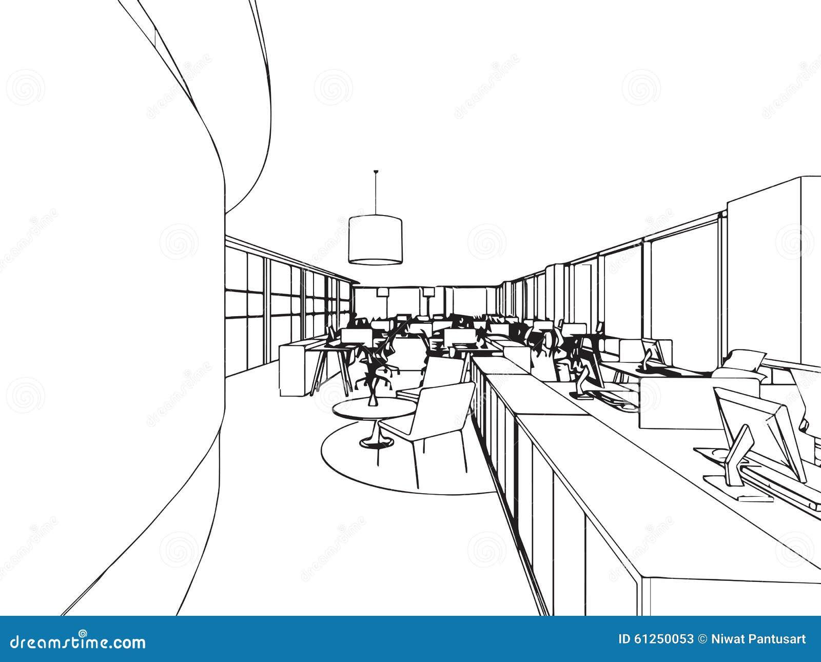 croquis int rieur de dessin d 39 ensemble de bureau illustration de vecteur image 61250053. Black Bedroom Furniture Sets. Home Design Ideas