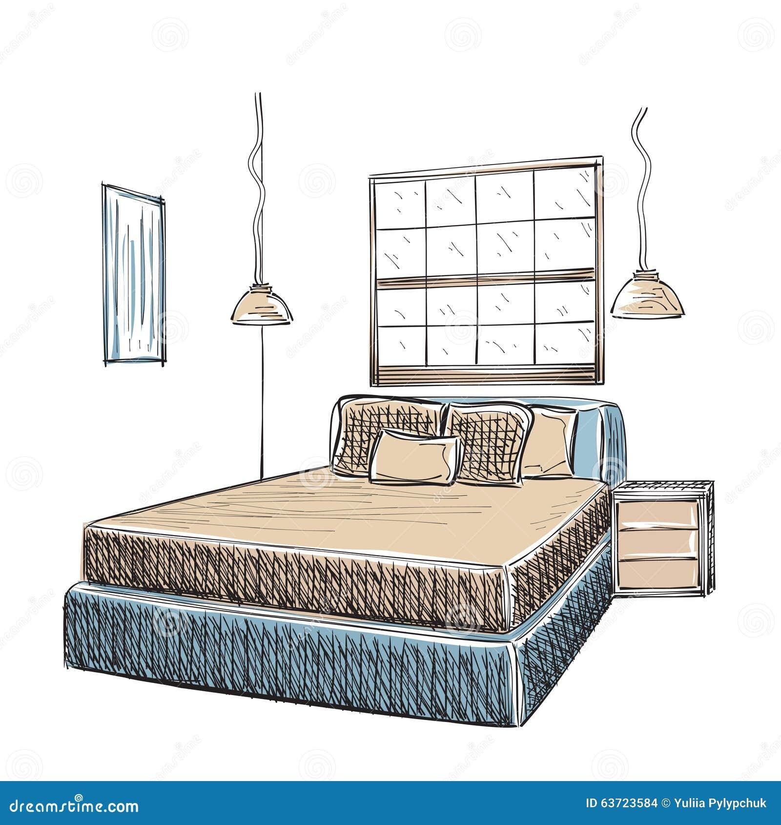 Croquis int rieur moderne de chambre coucher for Interieur de chambre a coucher