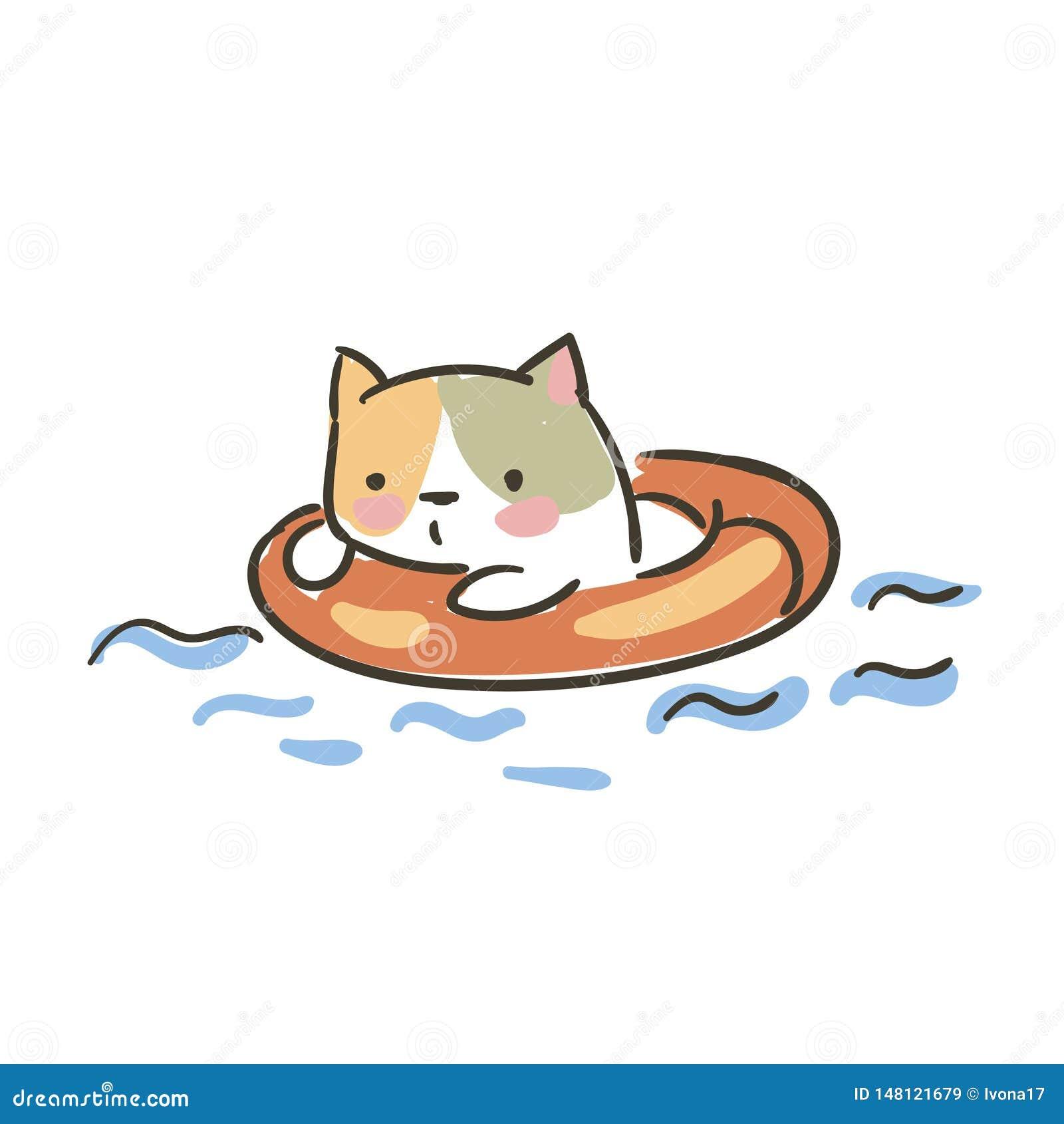 Croquis mignon de bouée de sauvetage de vecteur de chat de griffonnage petit