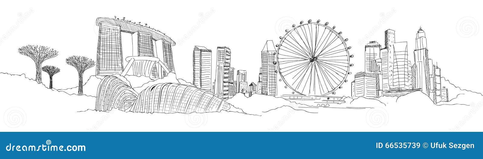 Croquis panoramique de SINGAPOUR