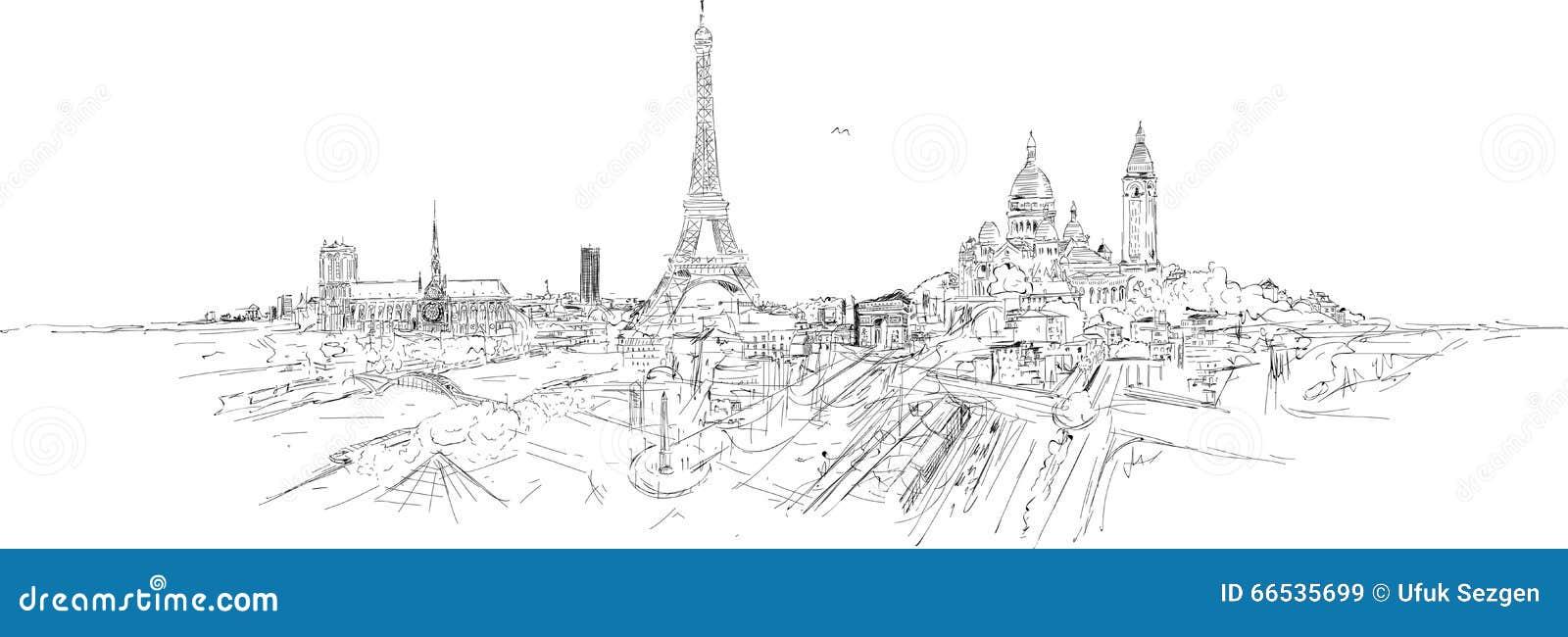 Croquis Panoramique De Ville De Paris Illustration Stock