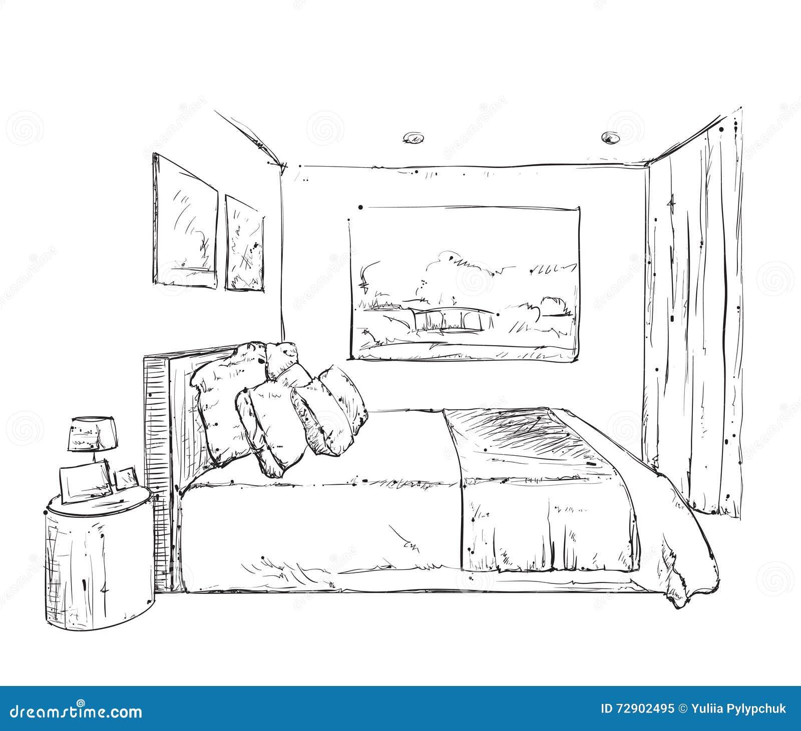 Croquis tir par la main d 39 int rieur de chambre coucher - Croquis chambre a coucher ...