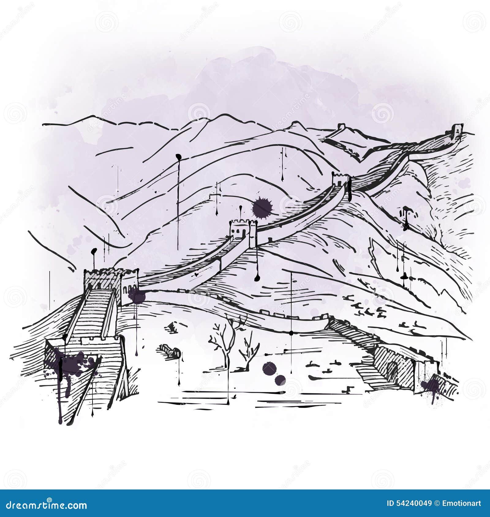 Croquis tiré par la main de la Grande Muraille de la Chine