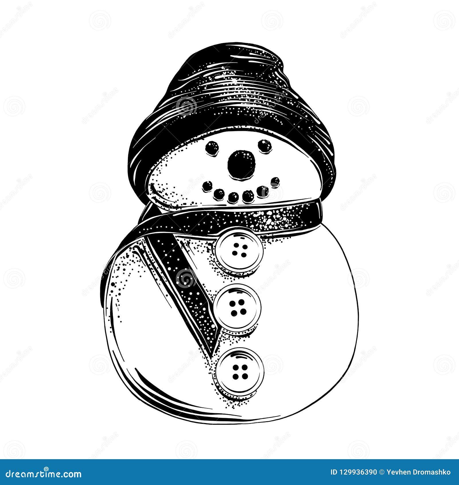 Croquis Tiré Par La Main Du Bonhomme De Neige De Noël Dans