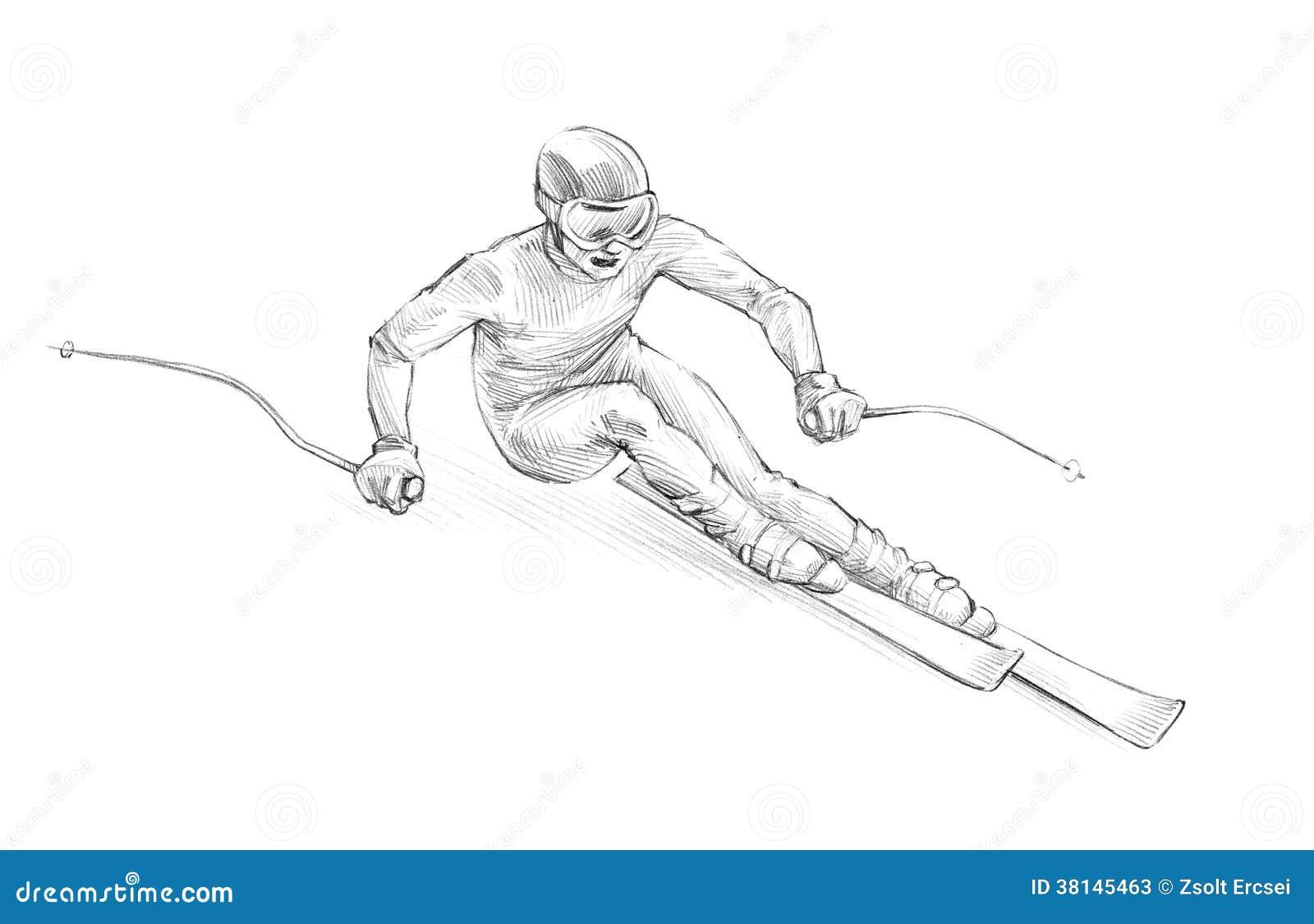 Croquis tir par la main illustration de crayon d 39 un - Ski alpin dessin ...