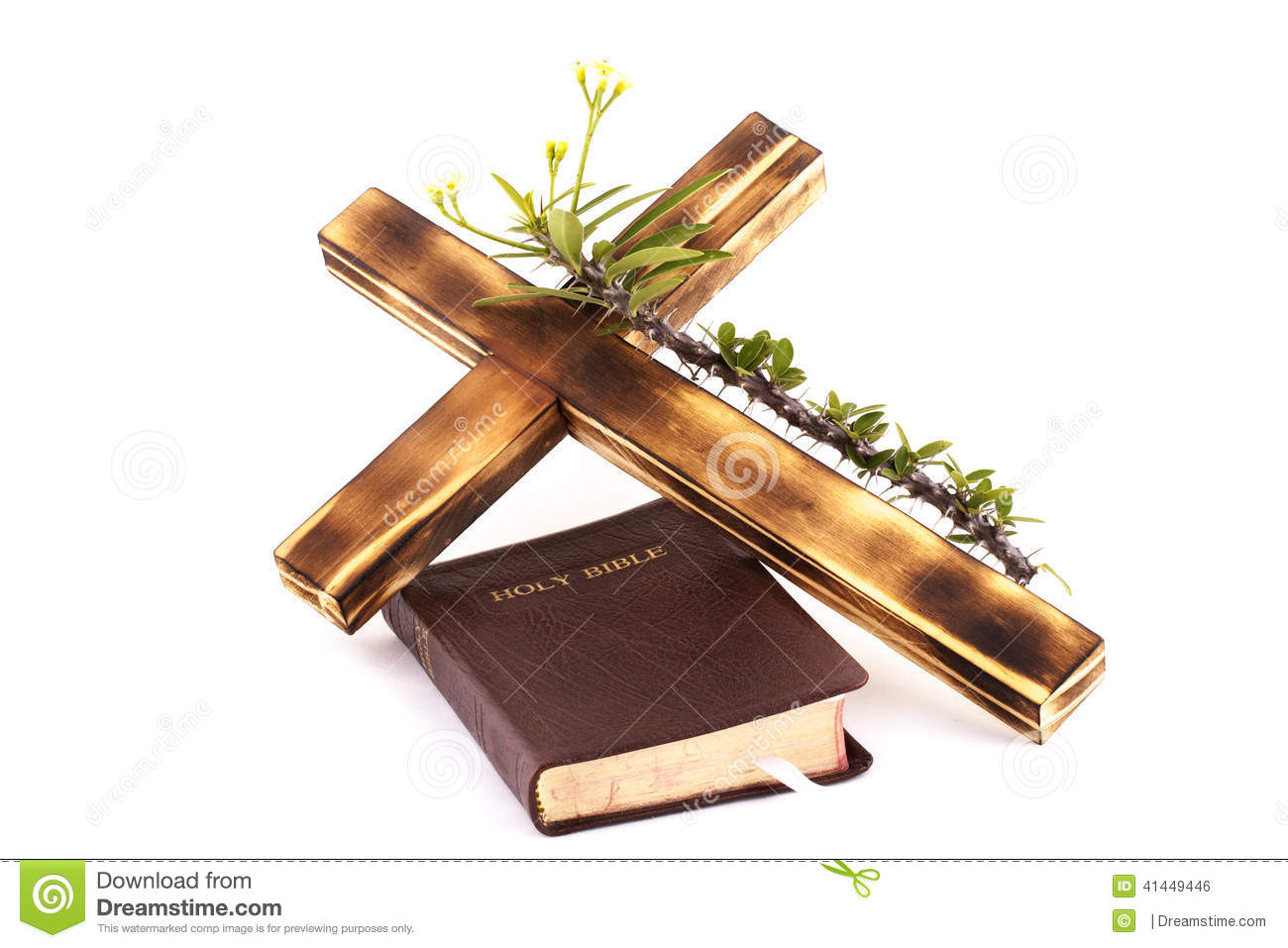 Cross And Bible On White Background Stock Photo Image