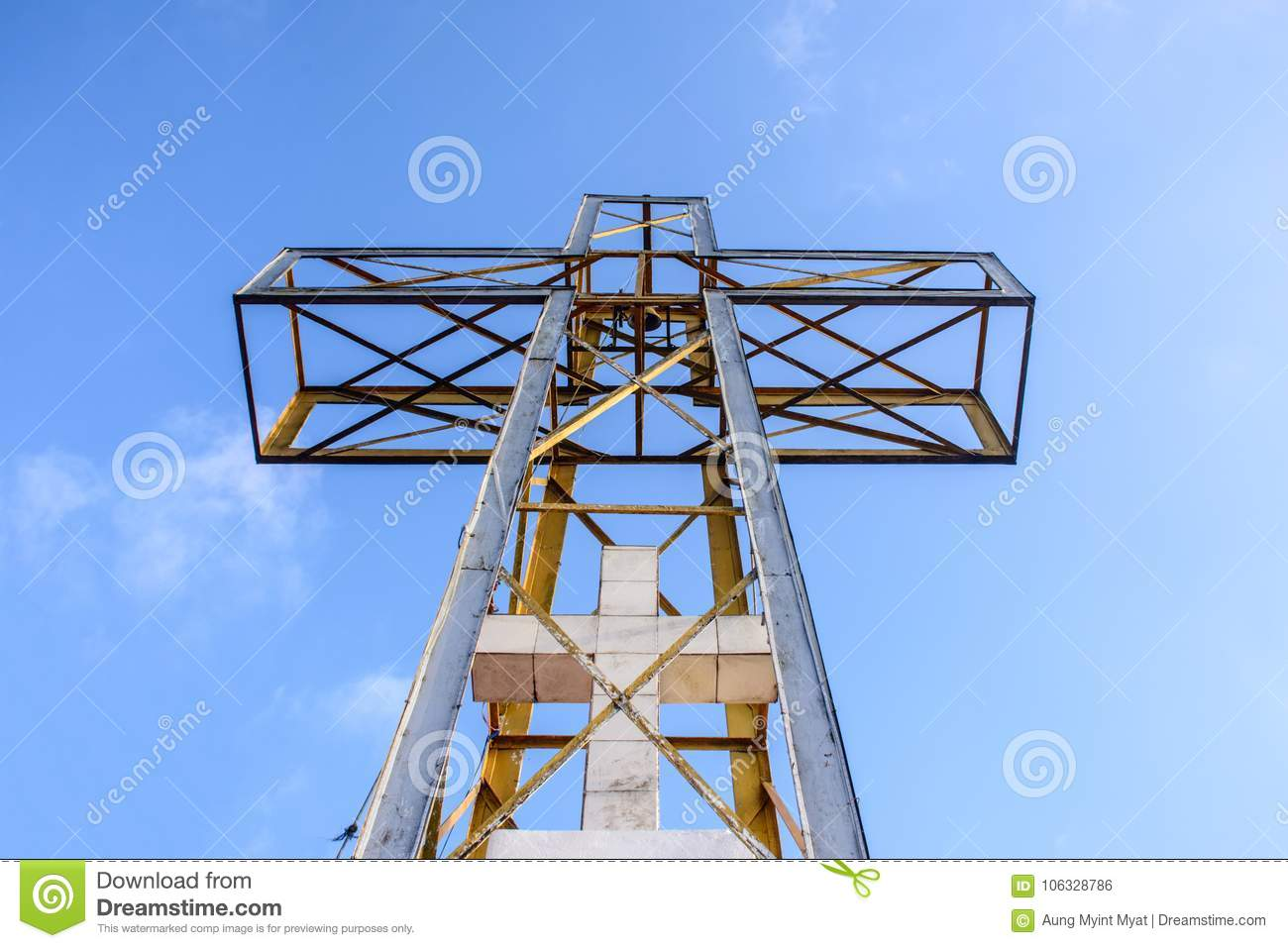 The cross with the blue sky and cloud