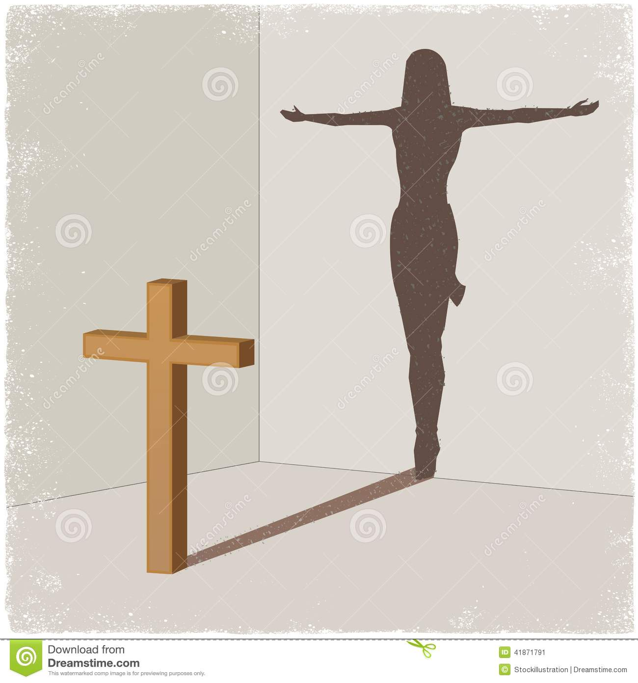 shadow of jesus christ on the cross stock photo image 45704266