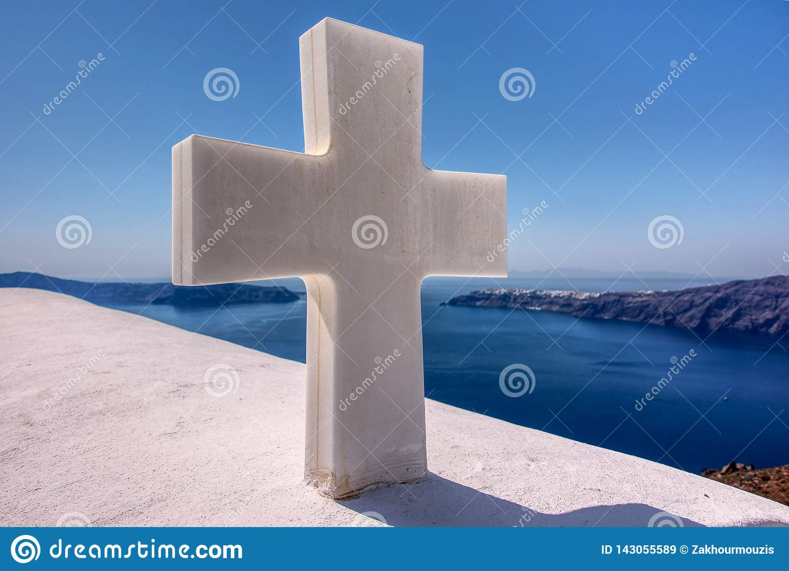 Peaceful cross in Santorini