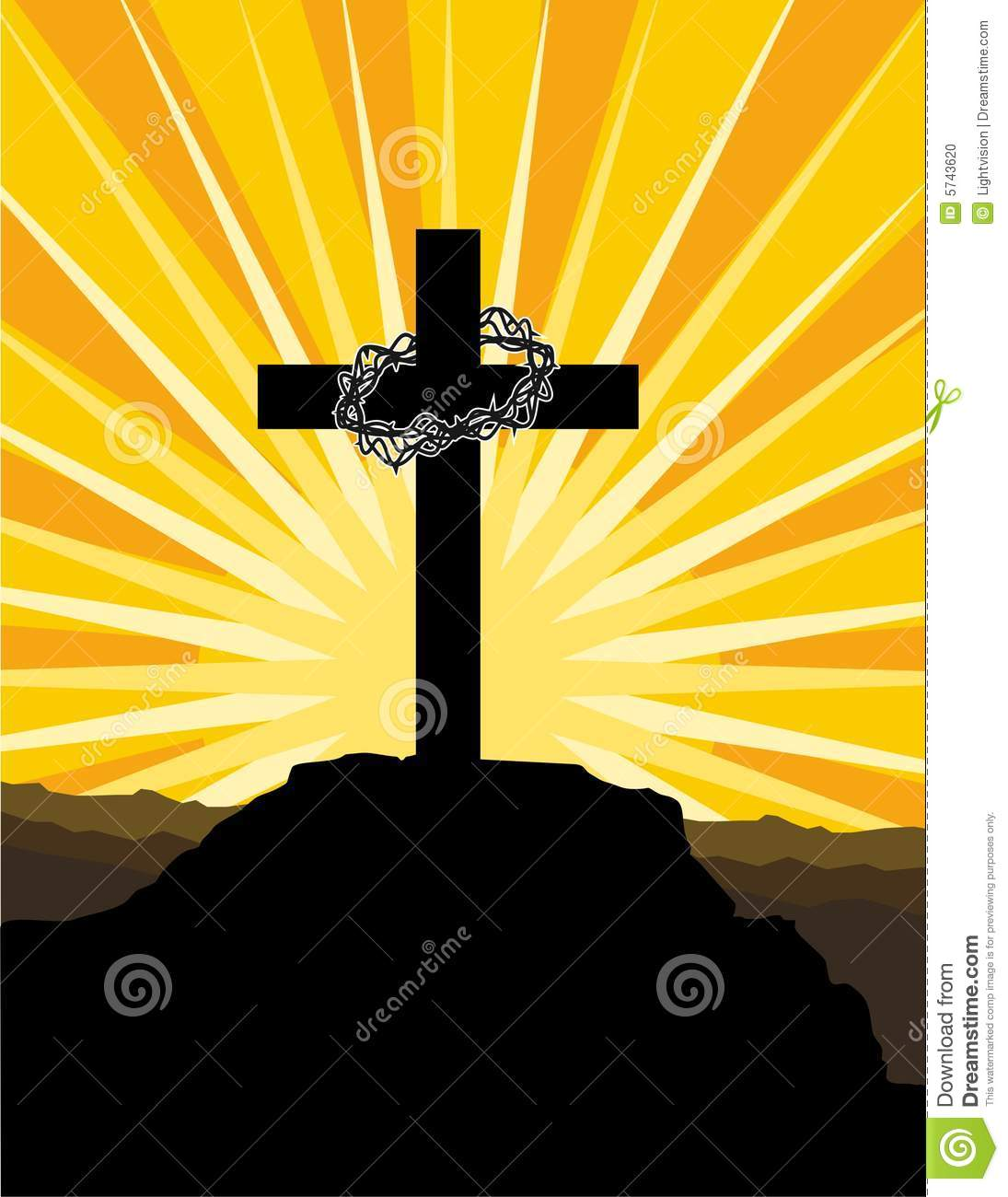 cross and crown of thorns stock photo image 5743620 crown of thorns vector image Gold Crown of Thorns Vector
