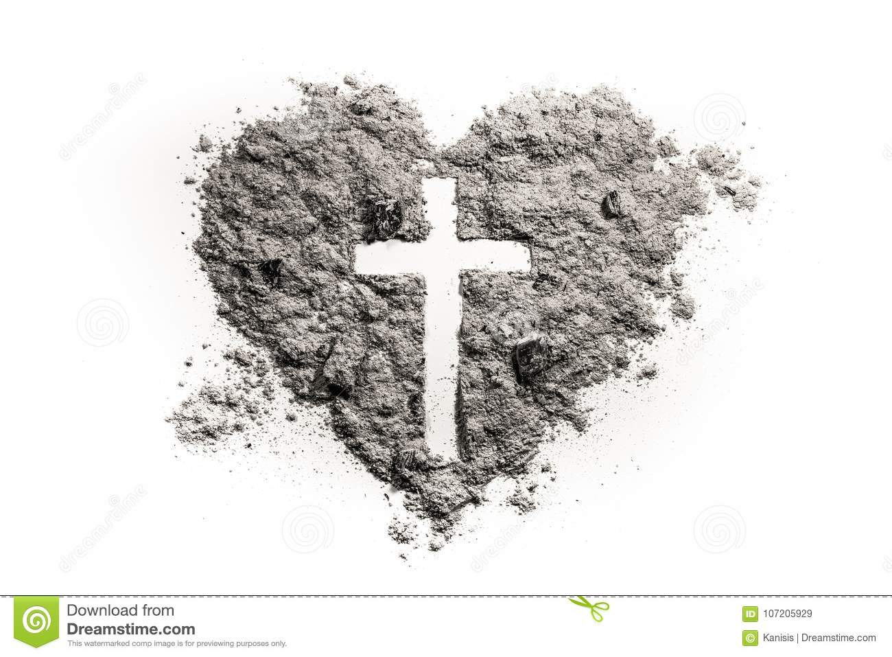 Christian love symbol stock photos 7176 images cross or crucifix in heart symbol made of ash sand or dust as jesus christ biocorpaavc Gallery