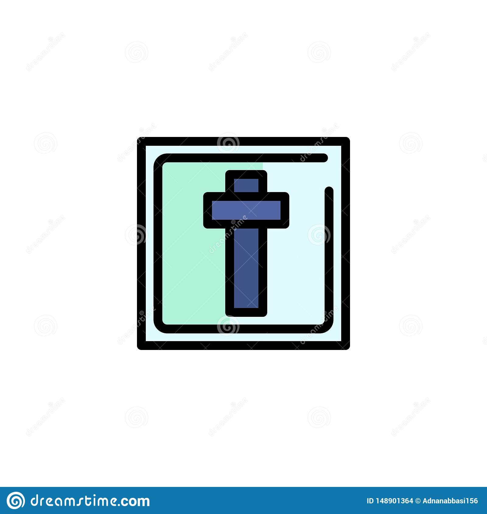 Cross Easter Holiday Sign Business Logo Template Flat