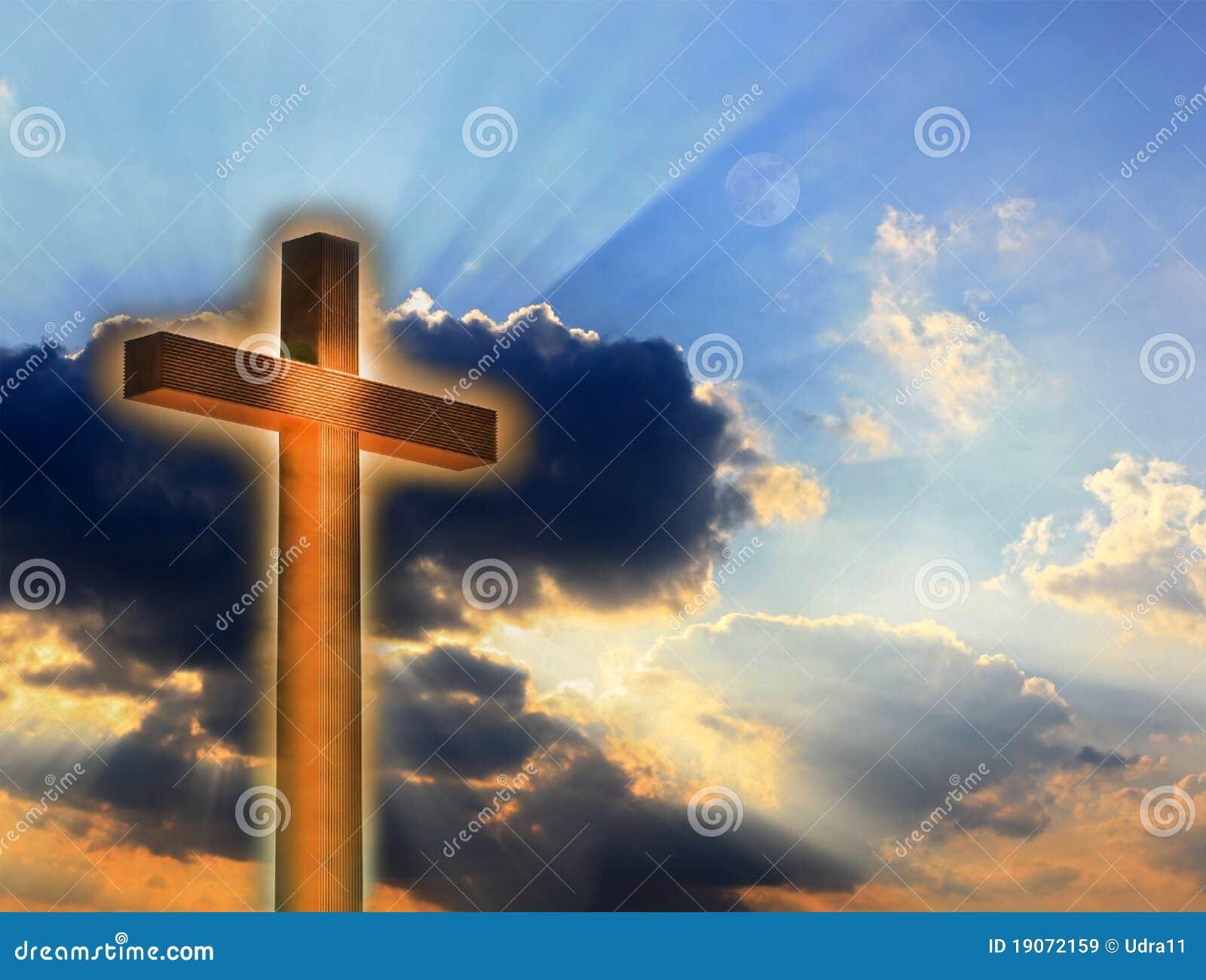 Cross in fire on sky