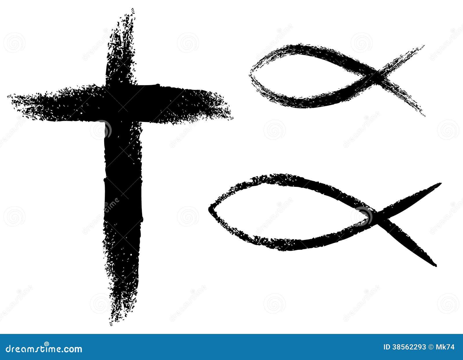 Cross And Fish Stock Vector Illustration Of Illustration 38562293