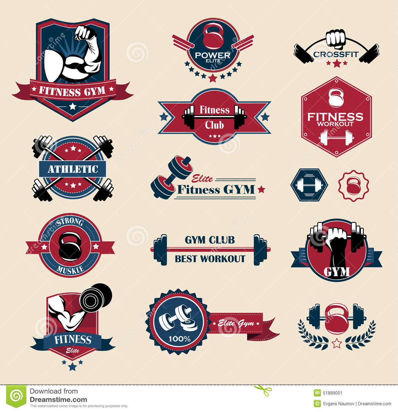 Set Of Vintage Sports Emblems Labels Badges And Logos Monochrome Style: Fitness Labels Cartoon Vector