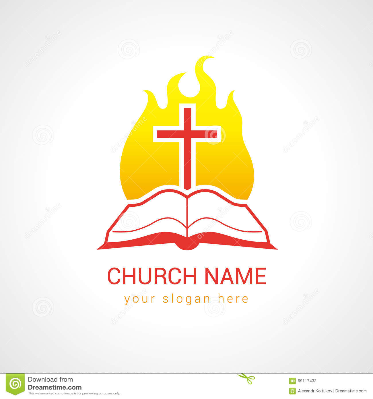 Cross On The Flame Bible Church Logo Stock Vector Image