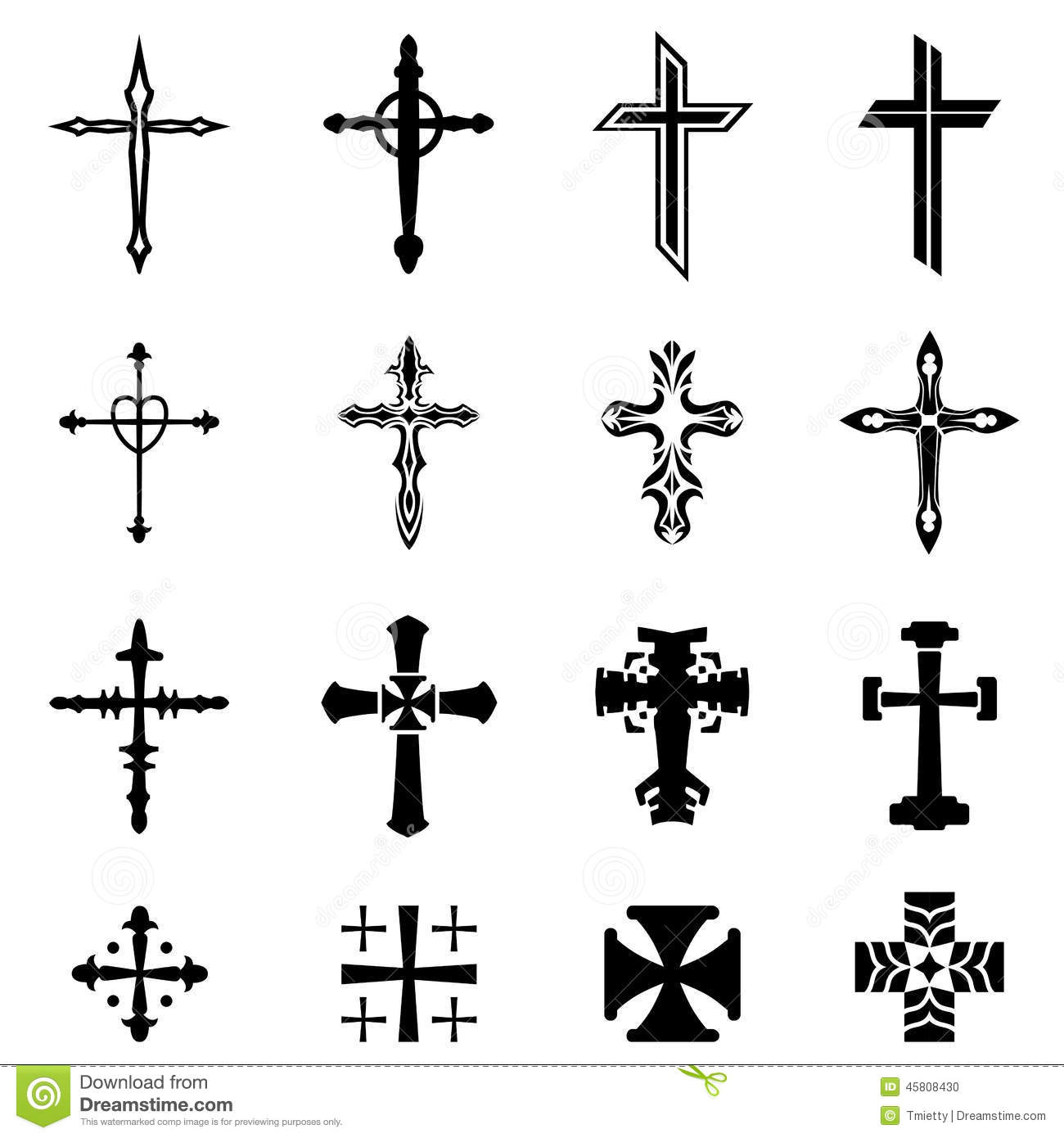 Cross Icon Set Stock Vector Image 45808430