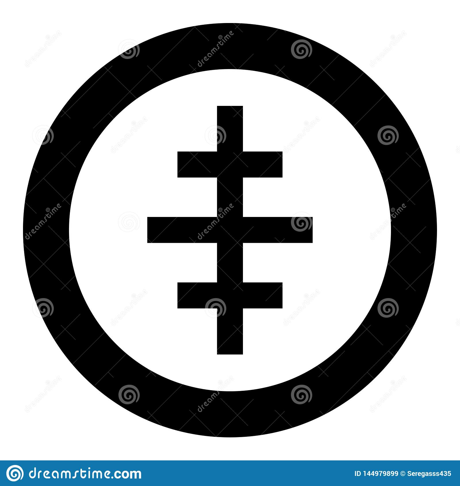Cross papal roman church icon in circle round black color vector illustration flat style image