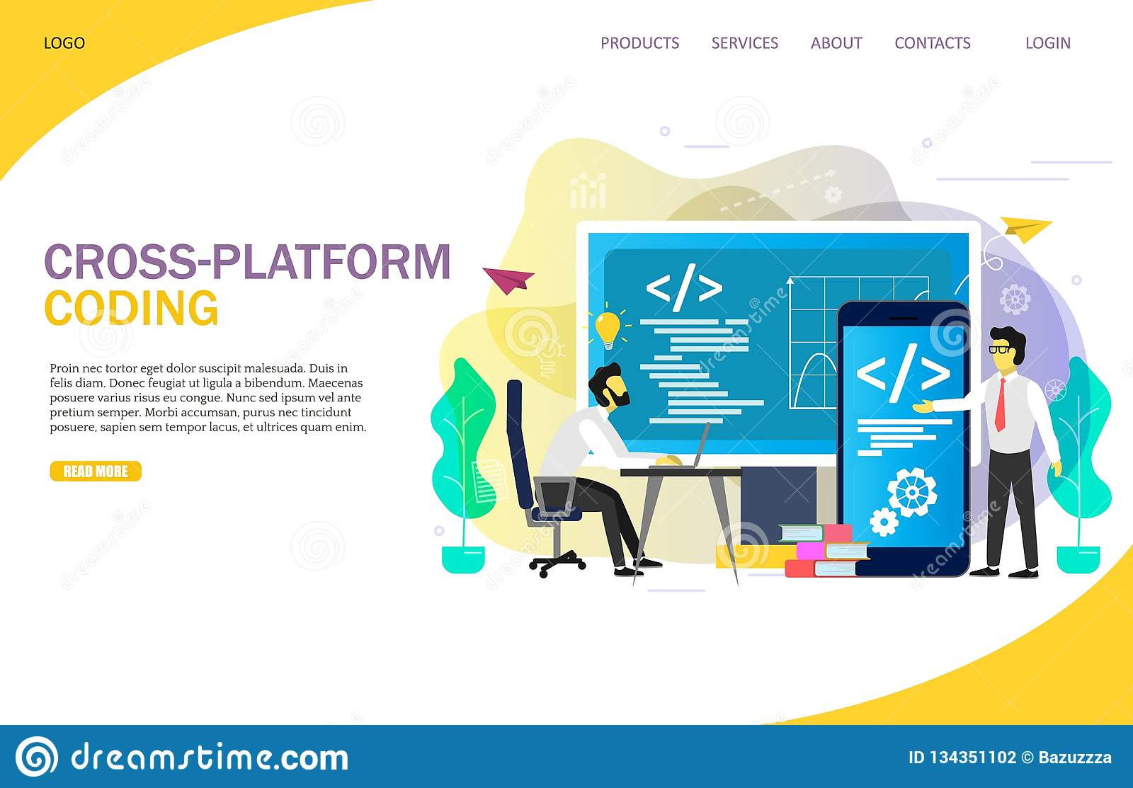 Cross-platform Coding Landing Page Website Vector Template Stock