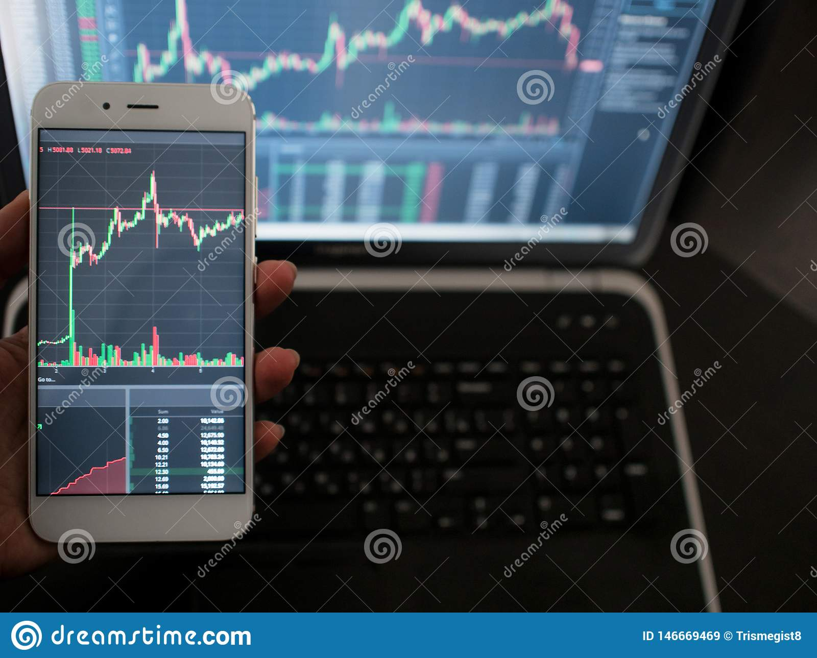 Cross-platform services for trading on the exchange. Hand with the phone on the background of a laptop