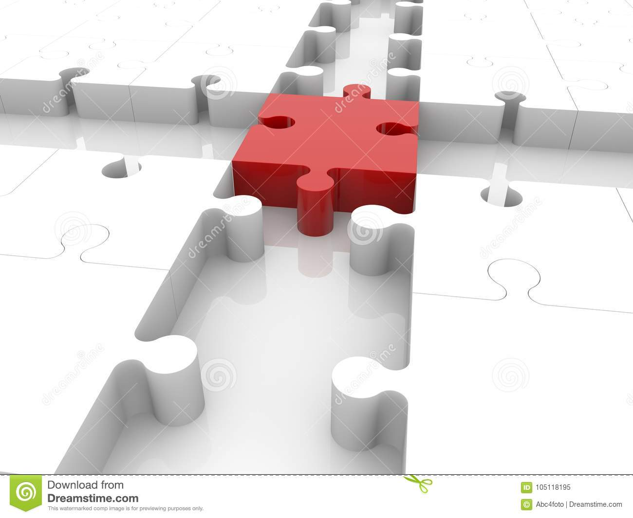 Cross Of Puzzle Pieces With Empty Spaces3d Illustration Stock