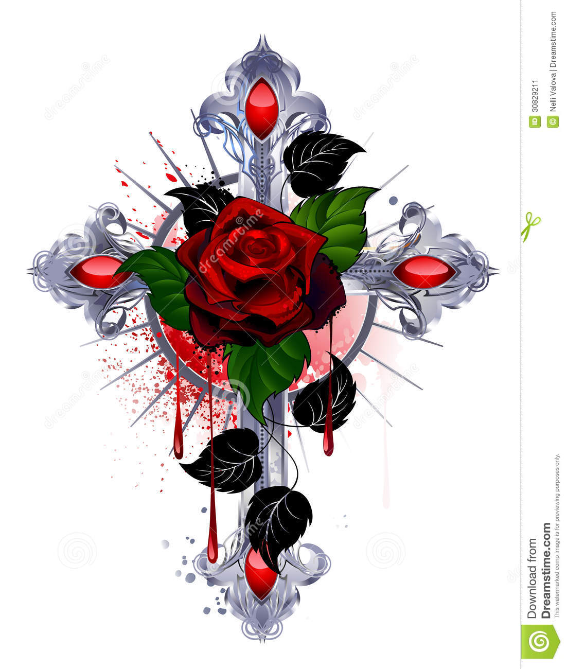 Cross With A Red Rose Stock Image