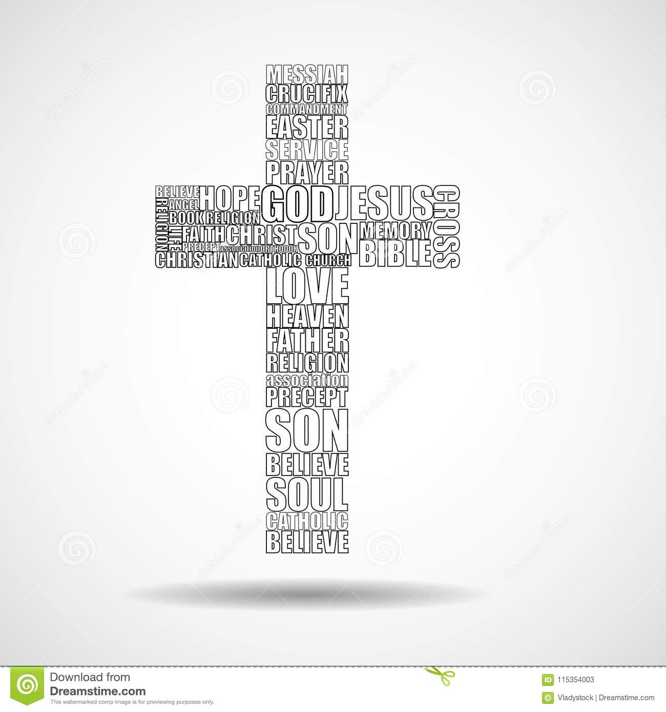 cross of religious words stock vector illustration of baptism