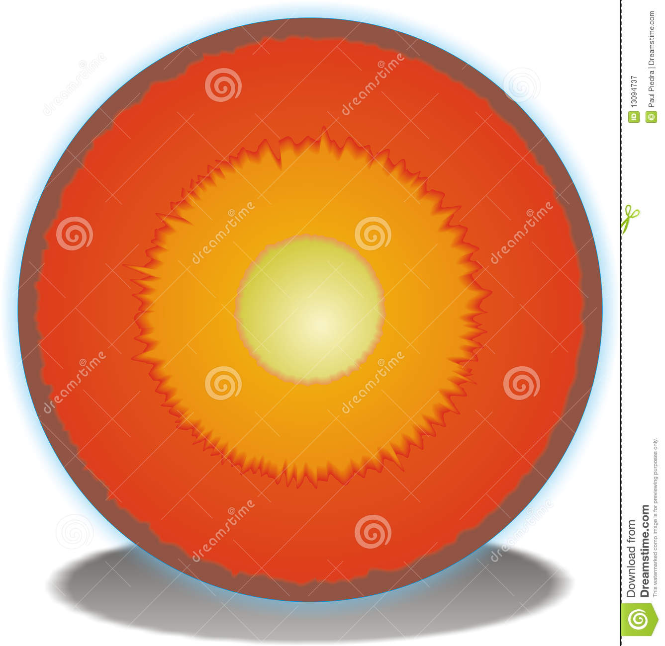 Cross Section Of Earths Core Stock Vector