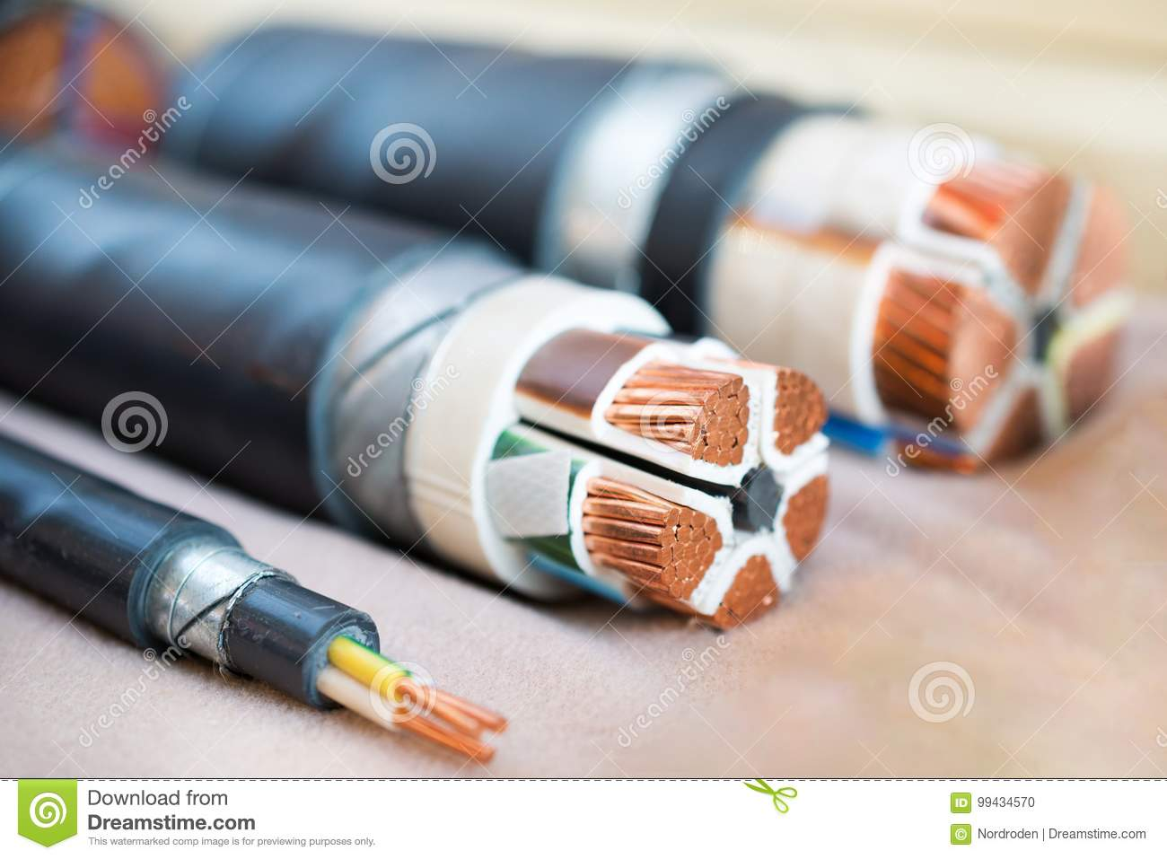 Cross Section Of High Voltage Cable Stock Photo Image Of Line
