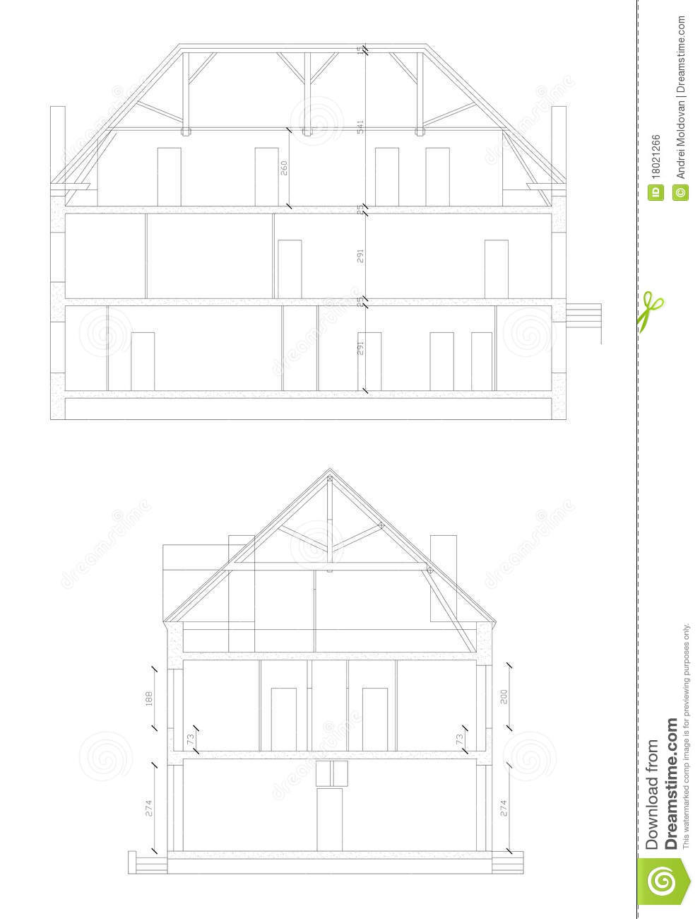 cross section made through a house in cad royalty free
