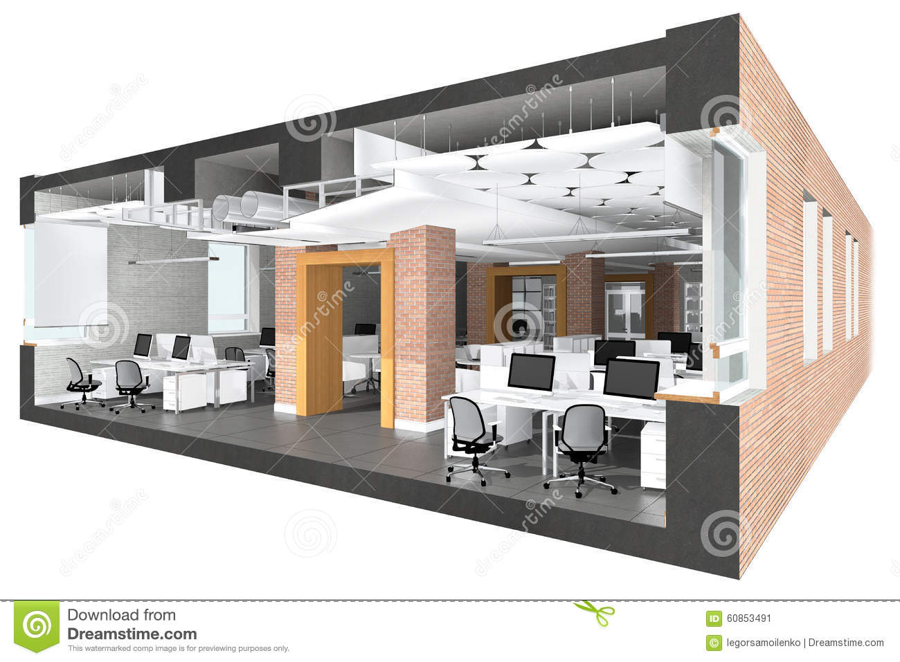 Cross Section Of The Office Space Stock Photo Image