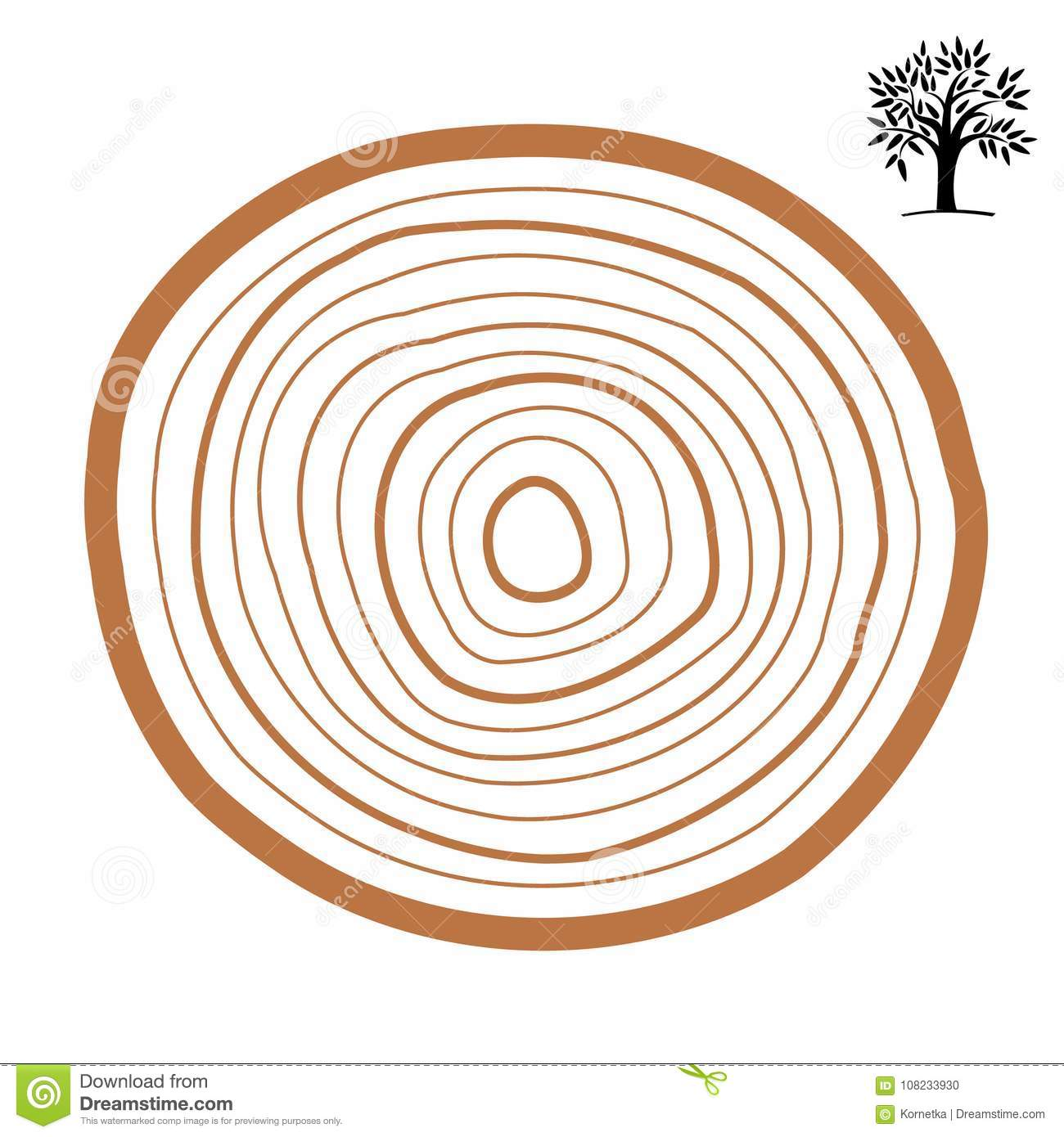 Cross Section Of A Tree Abstract Ring Vector Symbol Stock Vector