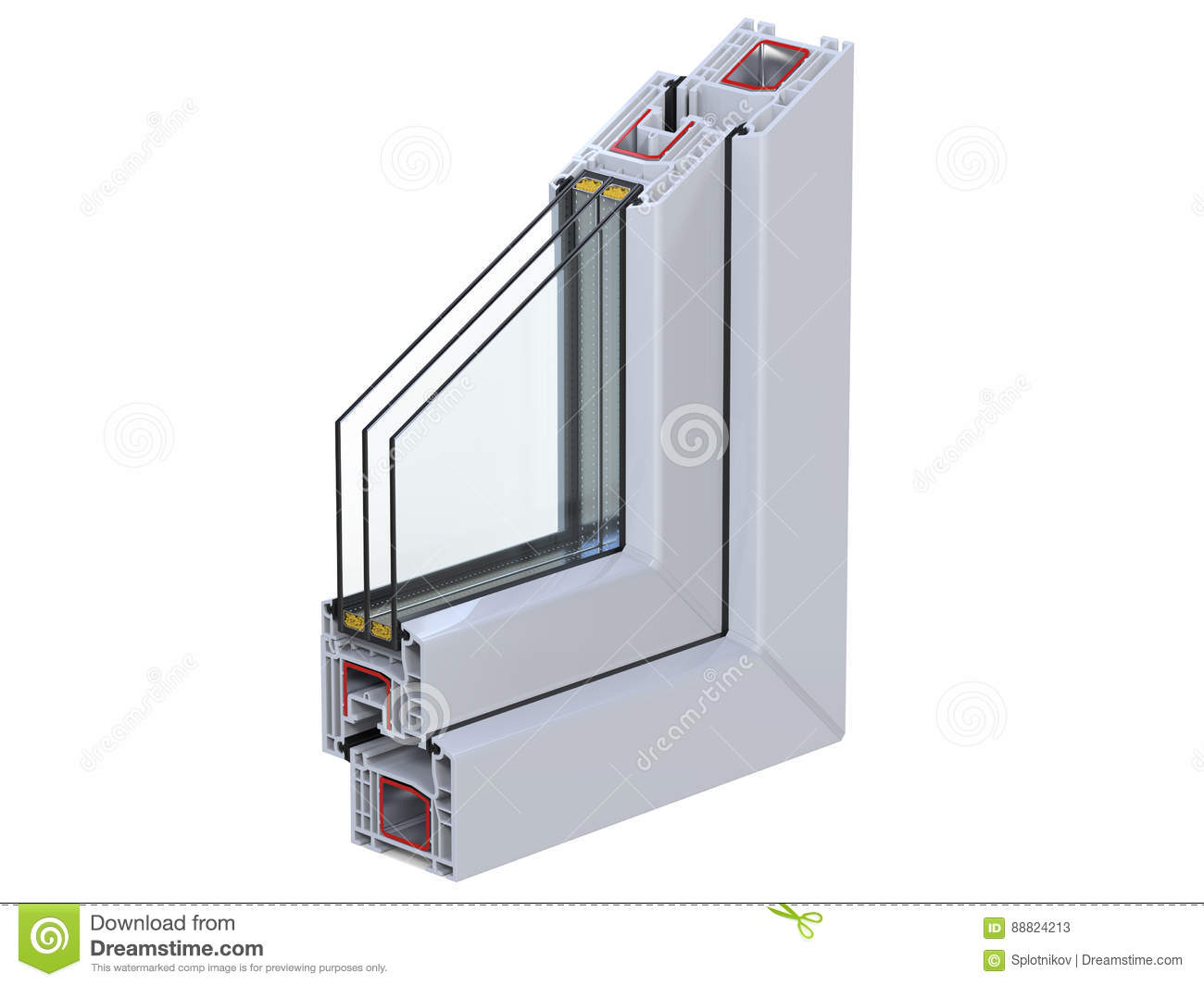 Cross section through a window pvc profile 3d render for Pvc double glazing