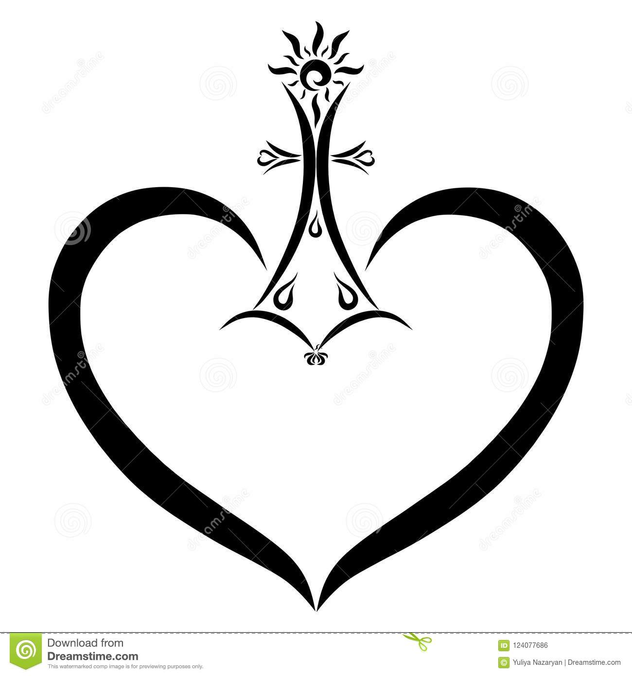 a cross with a shining sun and a flying bird above the heart stock