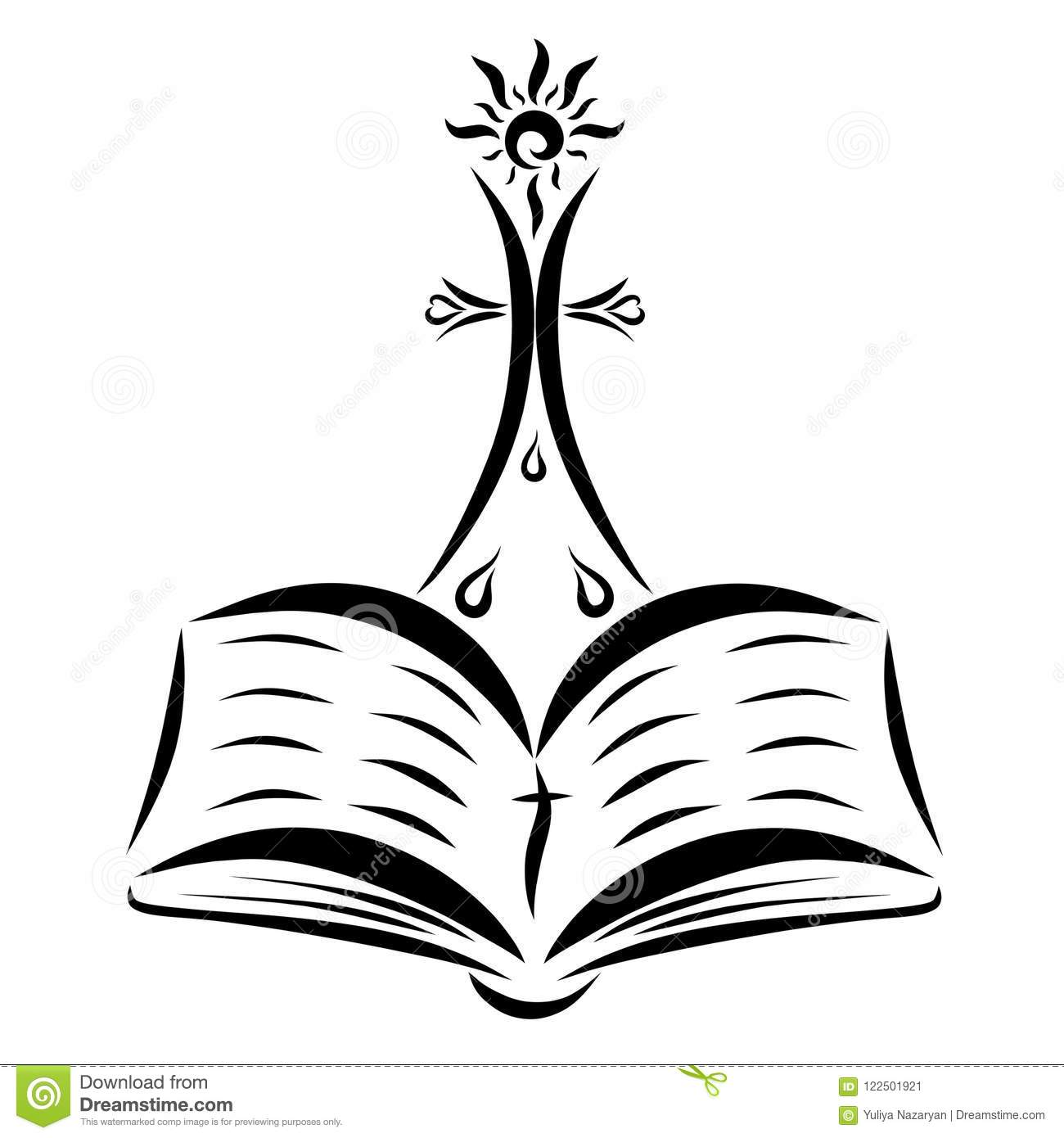 a cross with a shining sun an open bible and drops stock
