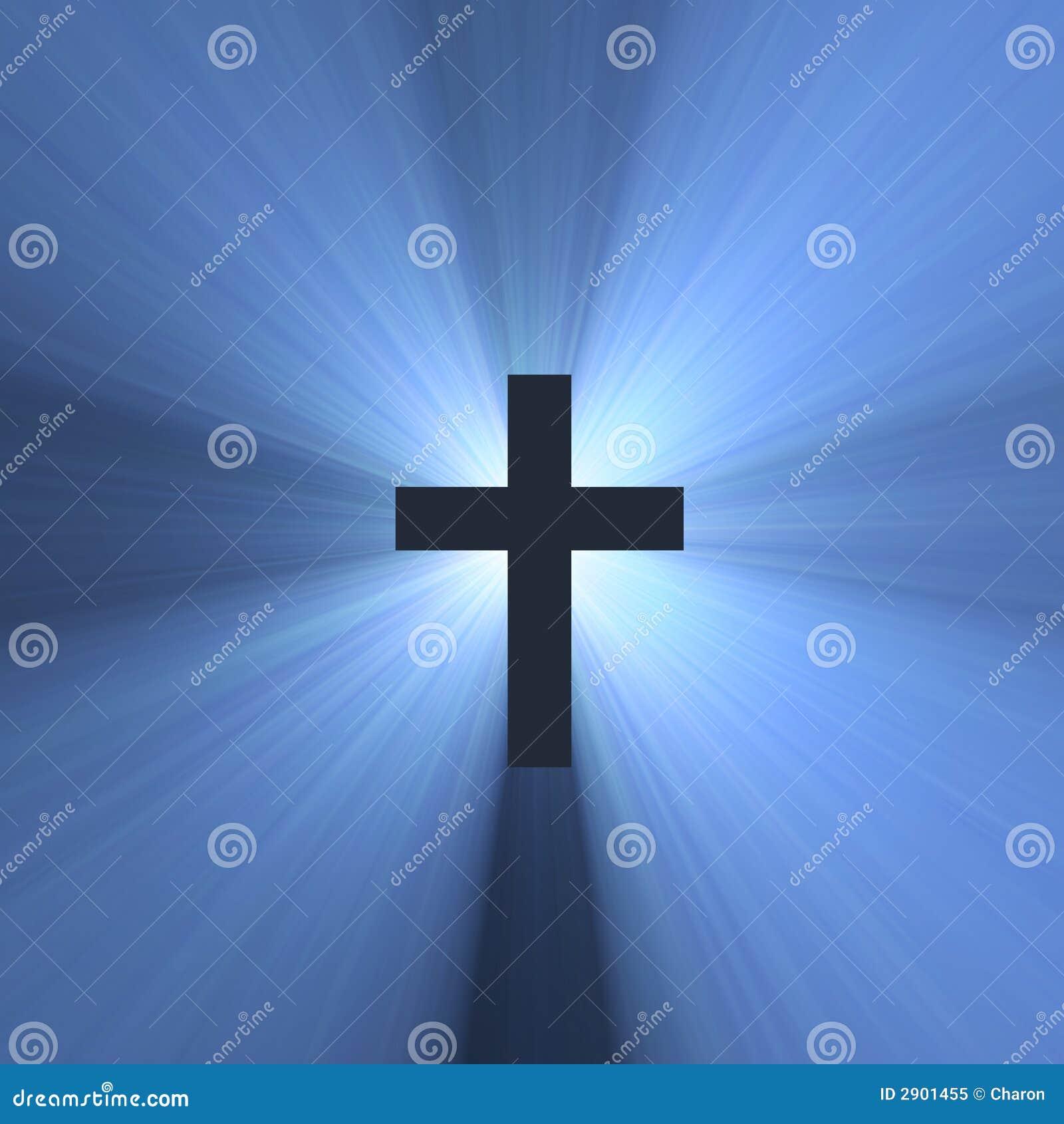 Cross sign holy blue light flare