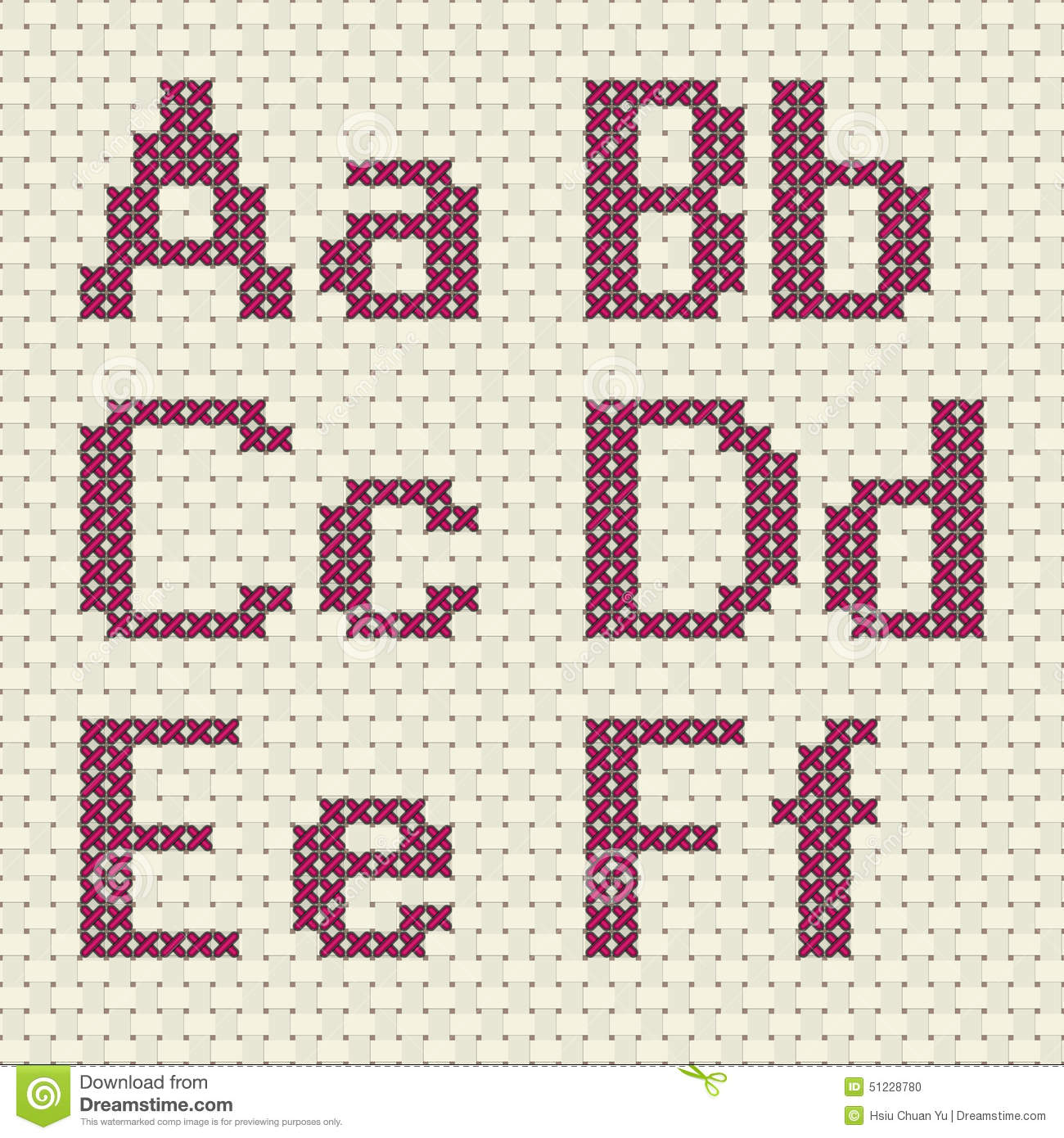 Cross Stitch Alphabet And Number Stock Vector Image