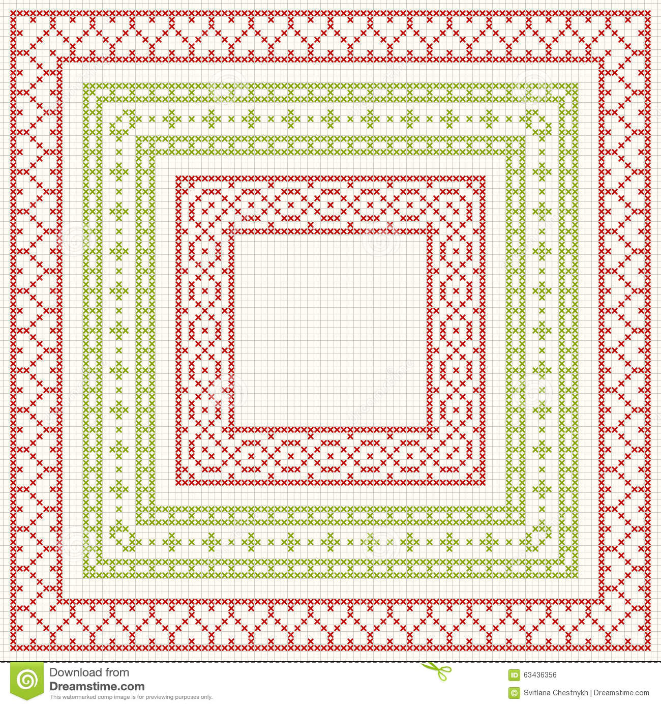 Cross Stitch Embroidery Set Of Borders Stock Vector Illustration