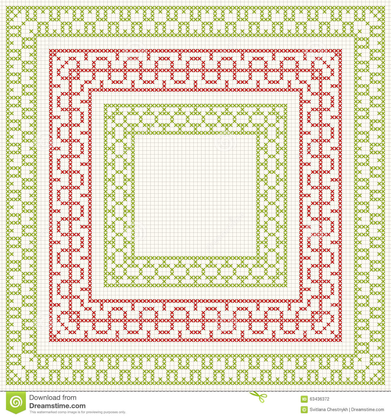 ... frames for cross-stitch embroidery in classic style. Red and green
