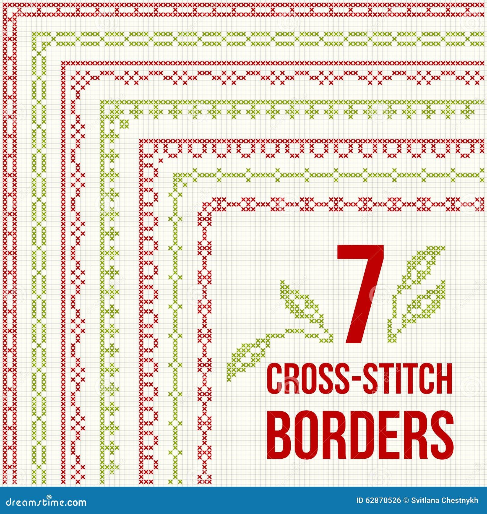 Cross Stitch Embroidery Seven Thin Borders Stock Vector