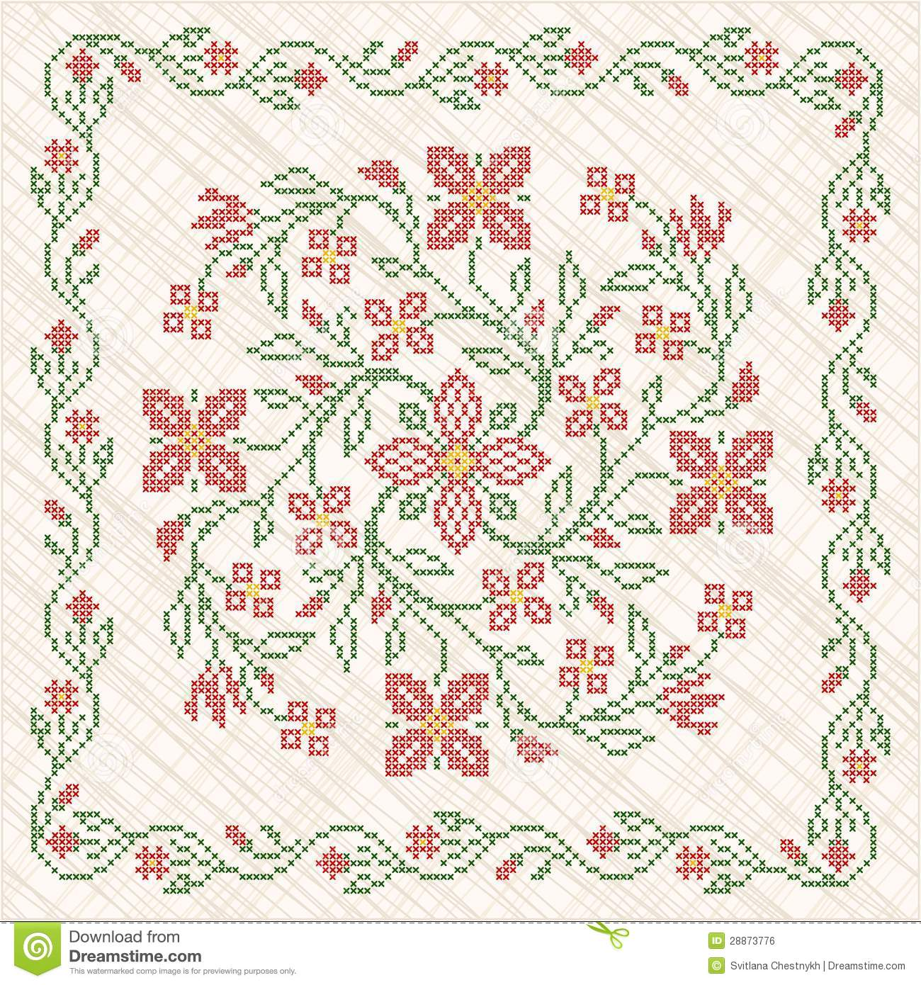 Cross-stitch Embroidery In Ukrainian Style Stock Vector ...