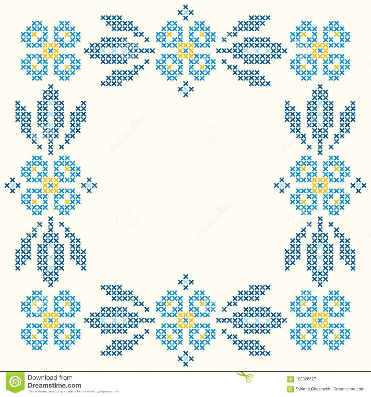 Cross-stitch embroidery in Ukrainian style. Embroidered square floral frame.