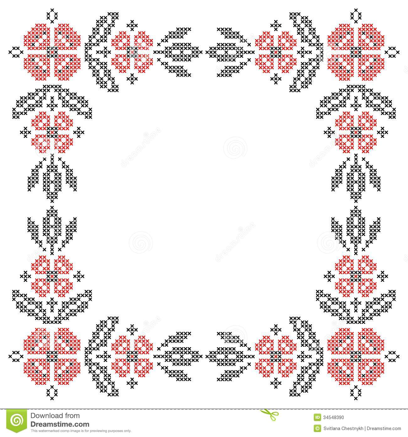 Cross Stitch Embroidery In Ukrainian Style Stock Vector