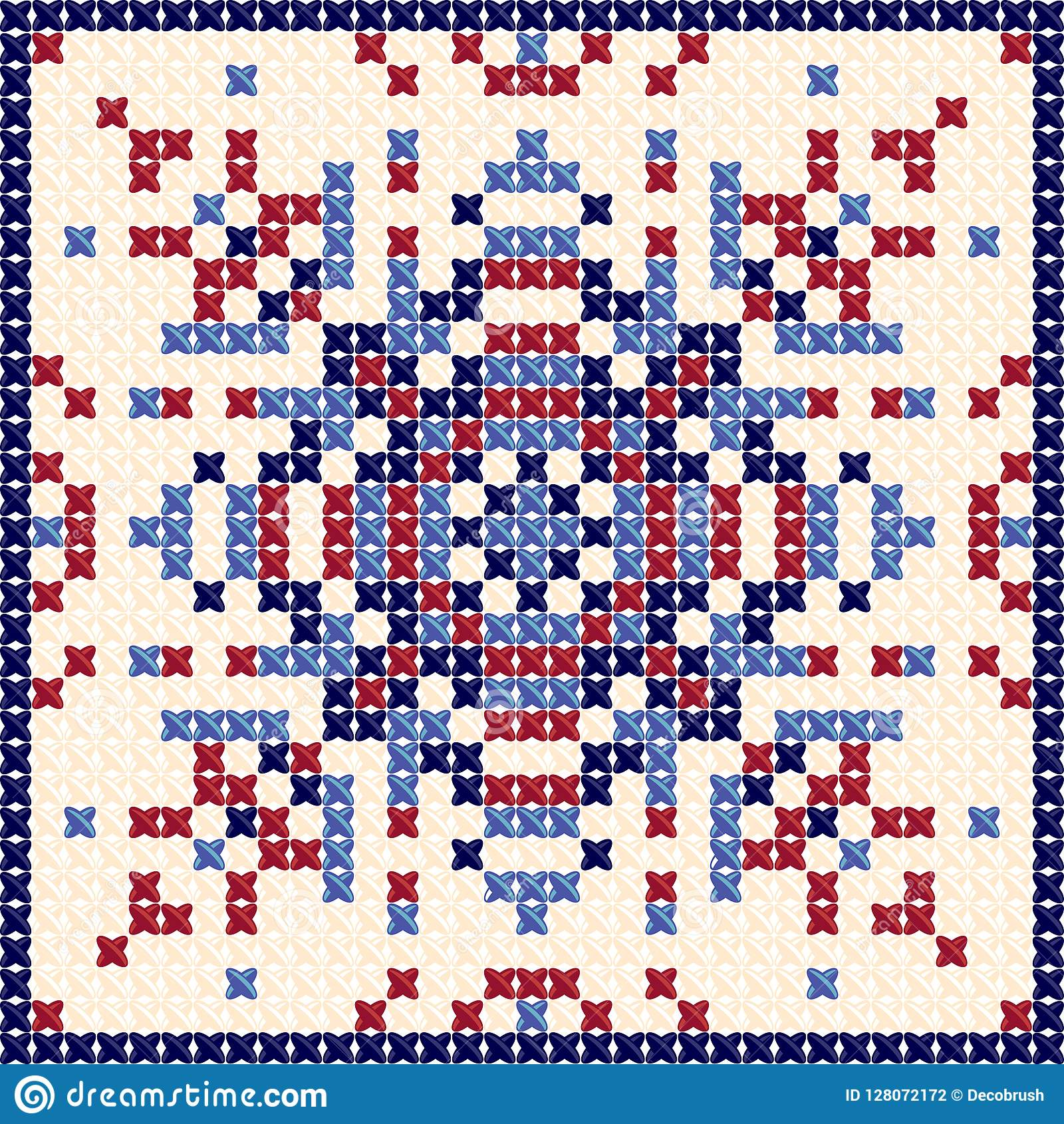 Cross Stitch Pattern Scandinavian Ornament Ethnic Background Cushion Stock Illustration Illustration Of Mosaic Pastel 128072172